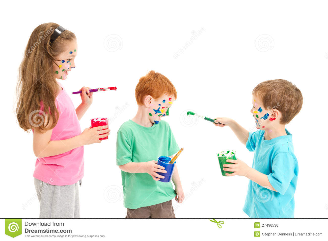 kids fun painting mess royalty free stock image - Kids Painting Images