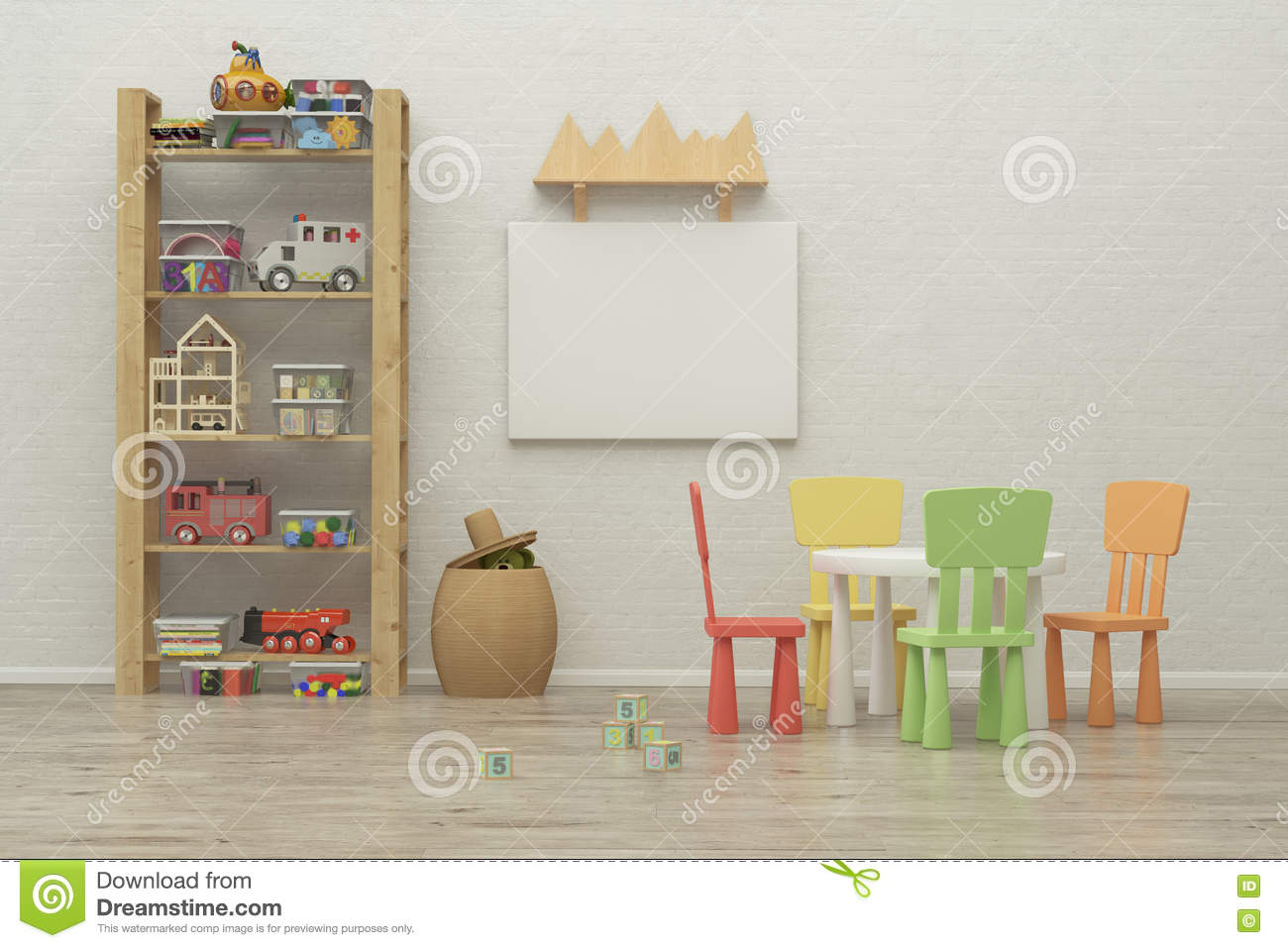 Kids game room interior image 3d rendering stock photo for 3d room decoration game
