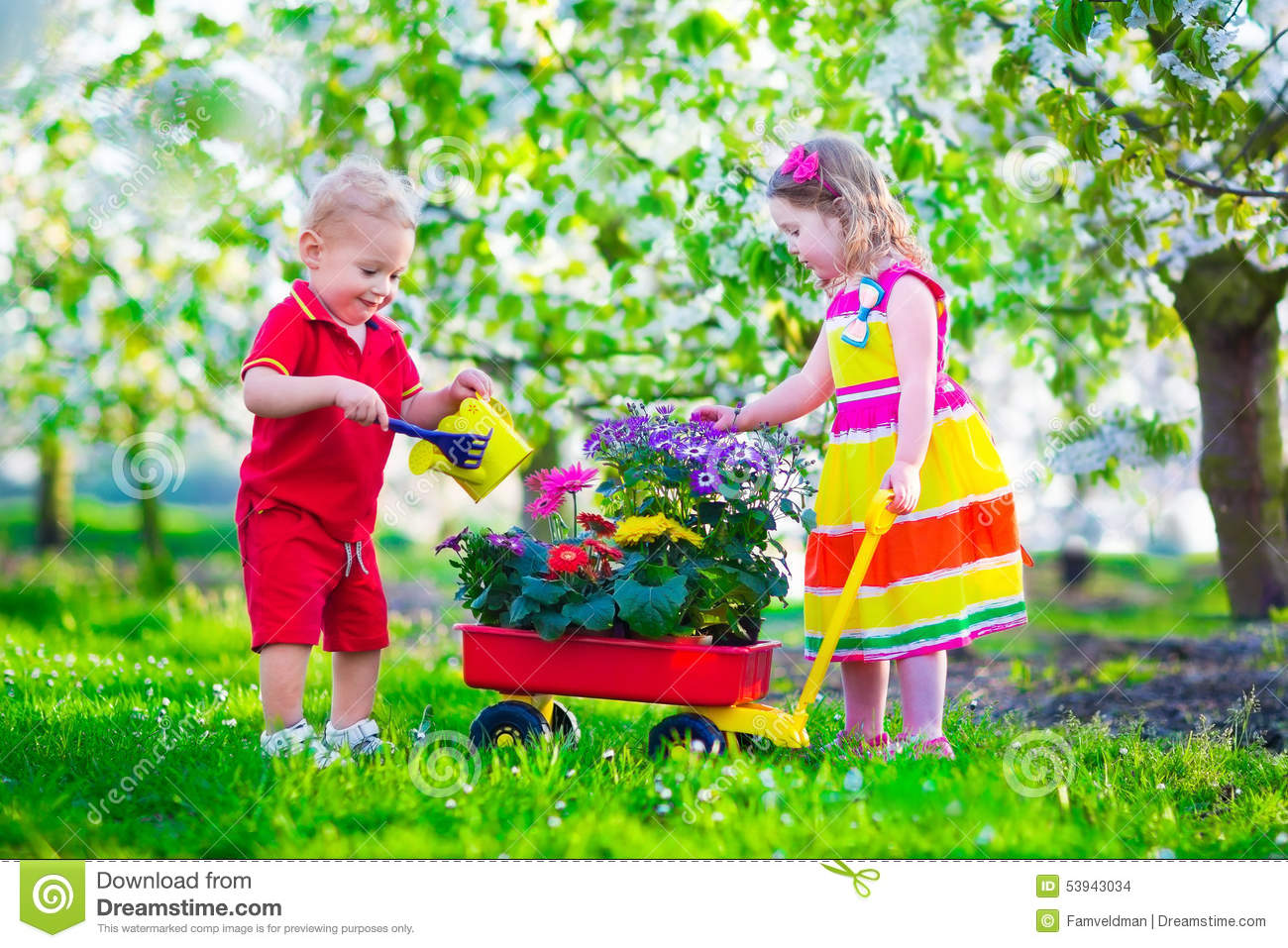 Kids in a garden with blooming cherry trees stock photo for Gardening with children