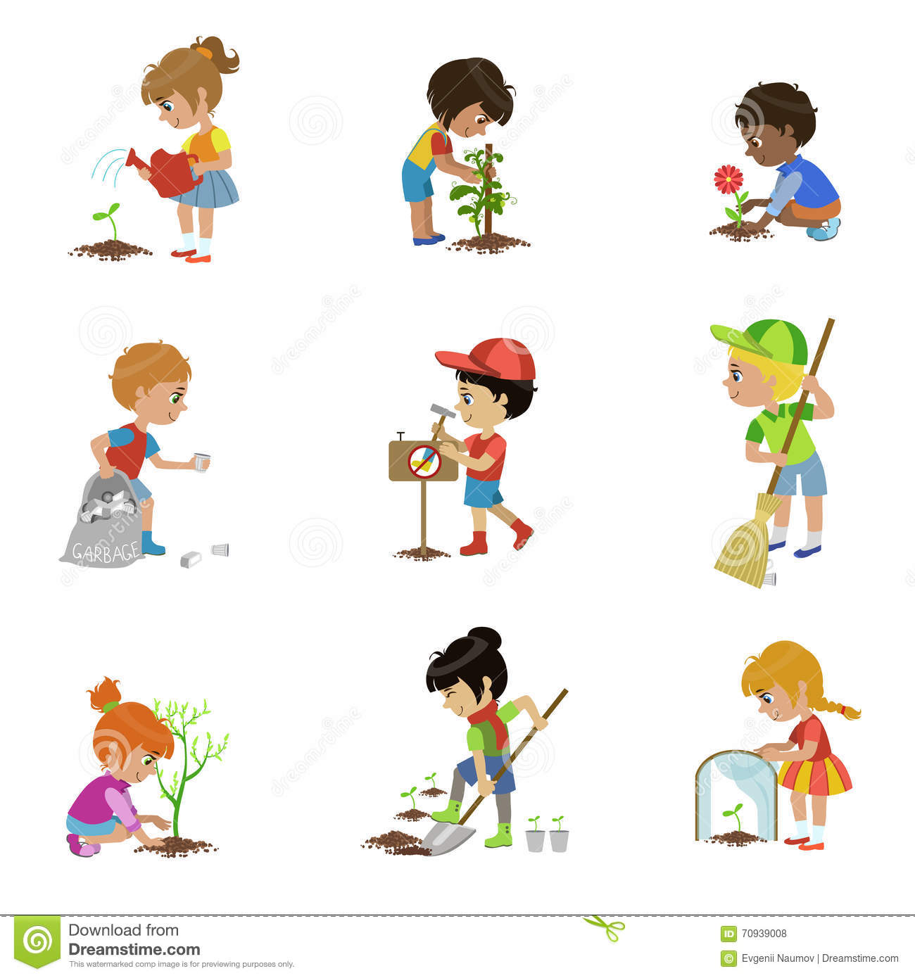 kids gardening illustrations set stock vector image 70939008. Black Bedroom Furniture Sets. Home Design Ideas