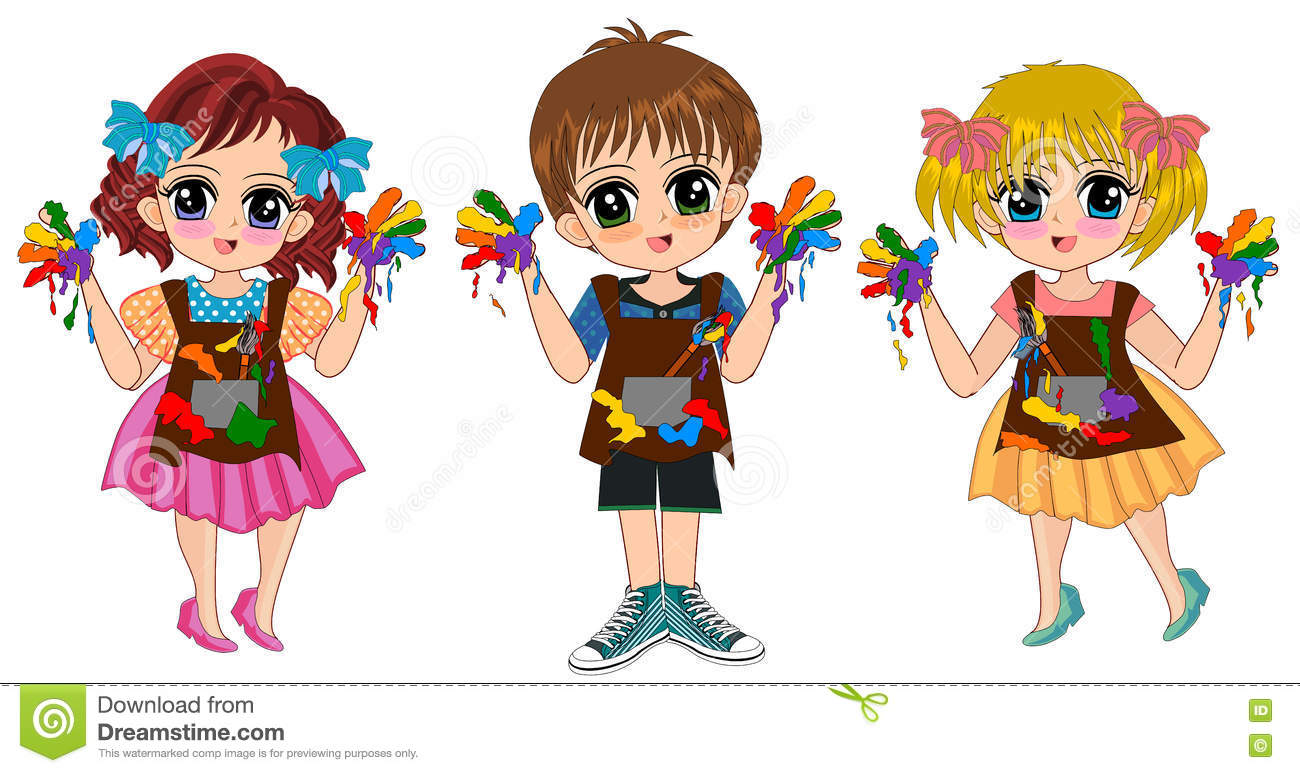 Kids Girl Boy Painting Cartoon Stock Illustration - Illustration of ...