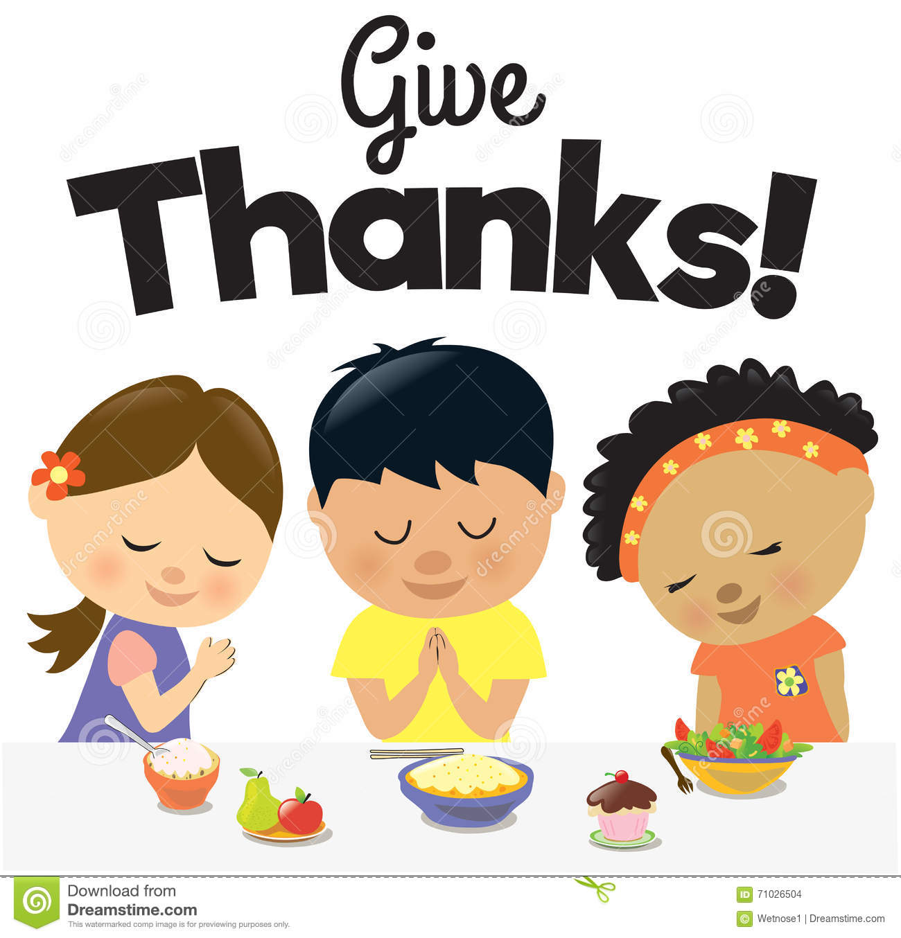 Kids Give Thanks Stock Vector Image 71026504