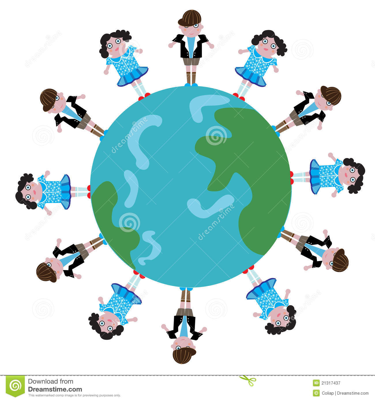 Kids On Globe Stock Vector Illustration Of Earth Color