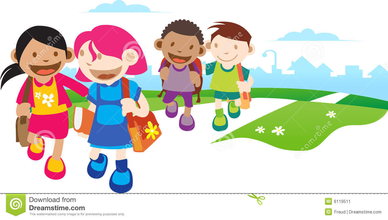 Kids Go To School Stock Illustration Illustration Of