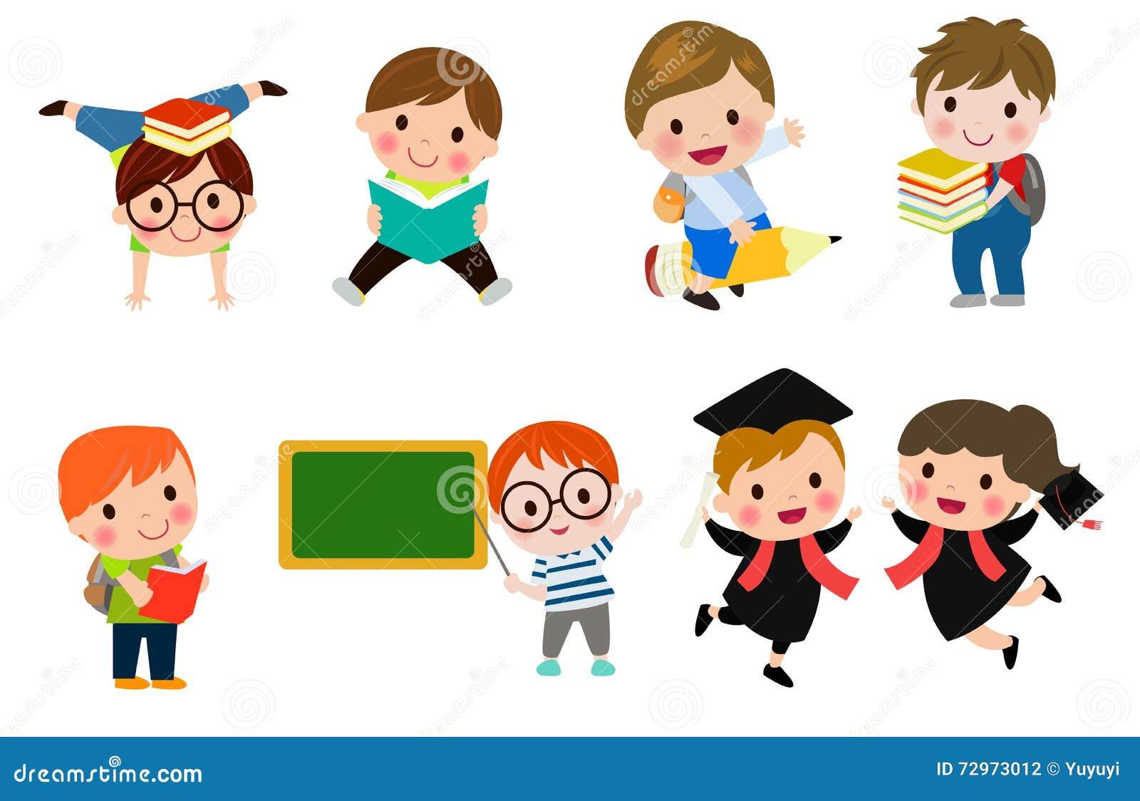 kids go to school back to school cute cartoon children happy children - Cartoon Picture Of Children
