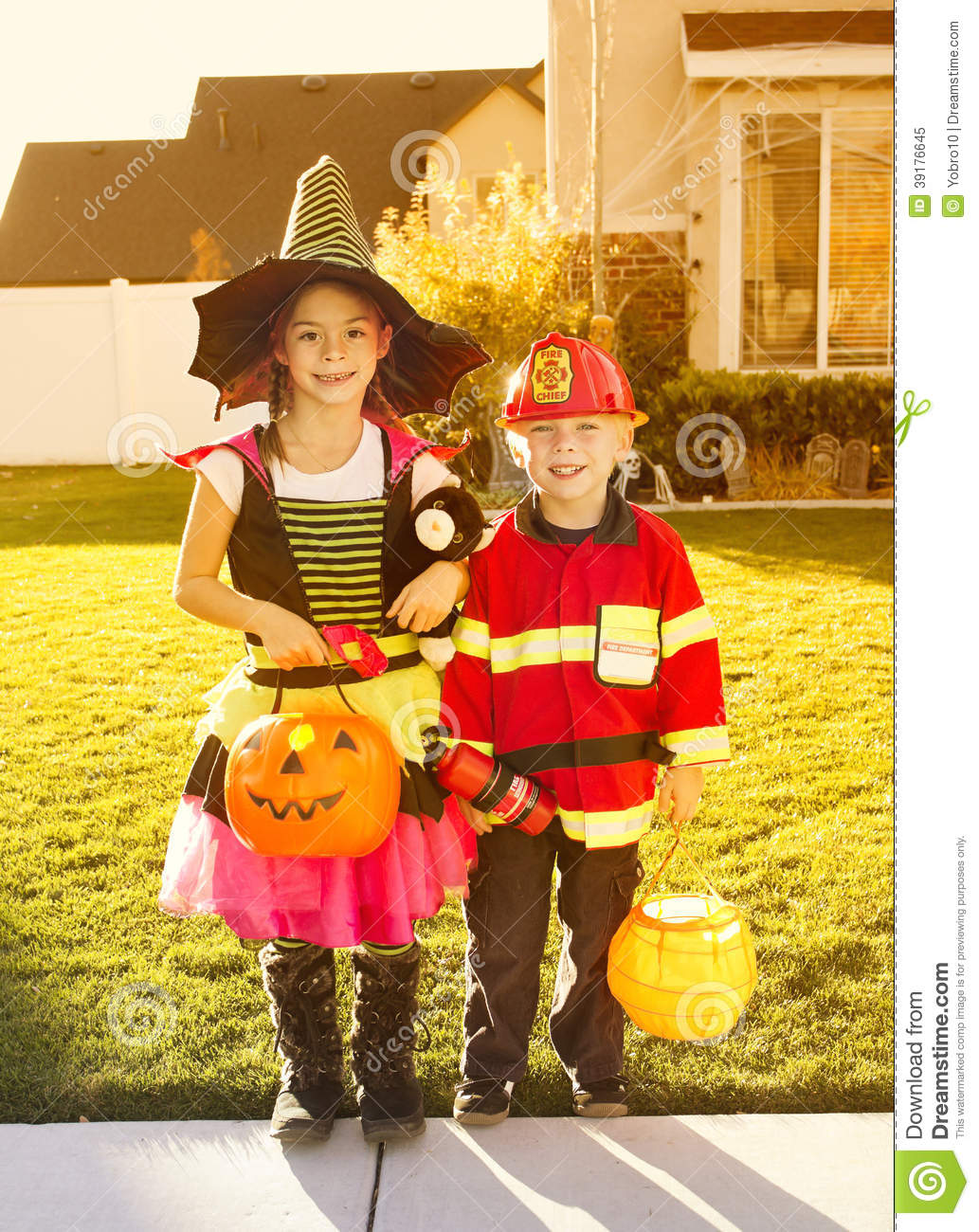 Kids Going Trick Or Treating On Halloween Stock Image ...
