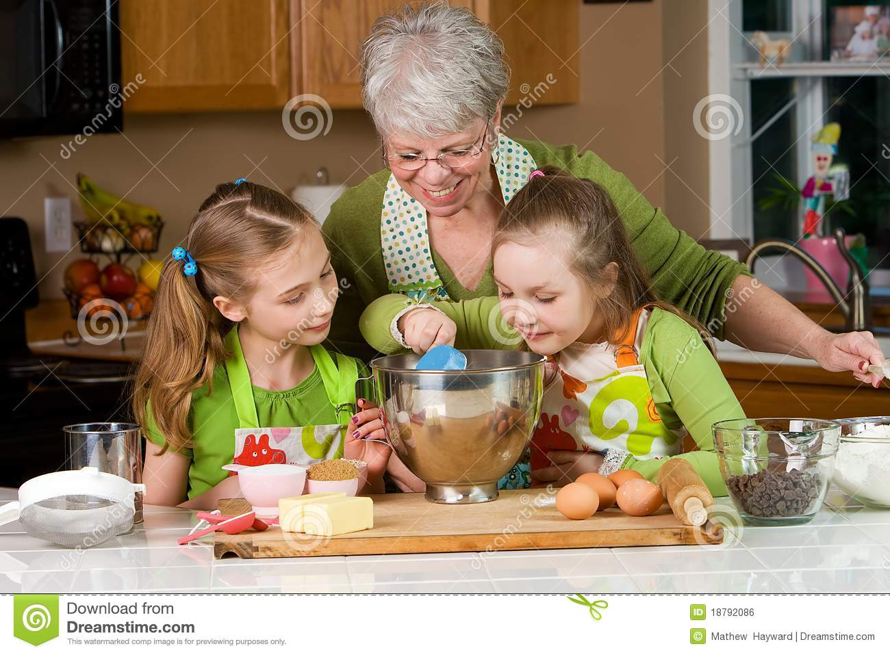 Kids and Grandma Baking in the kitchen