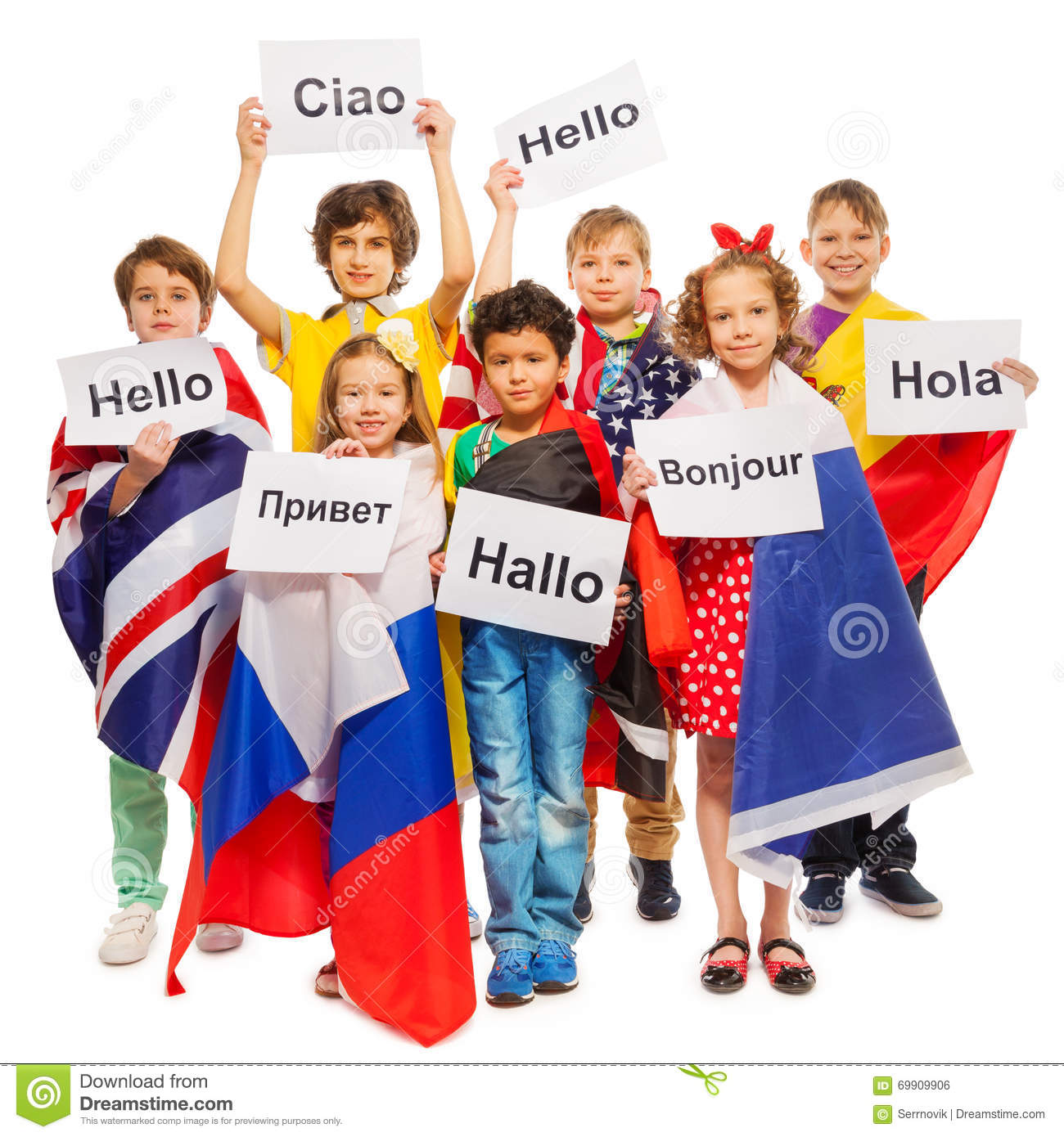 Kids Greeting Each Other In Different Languages Stock