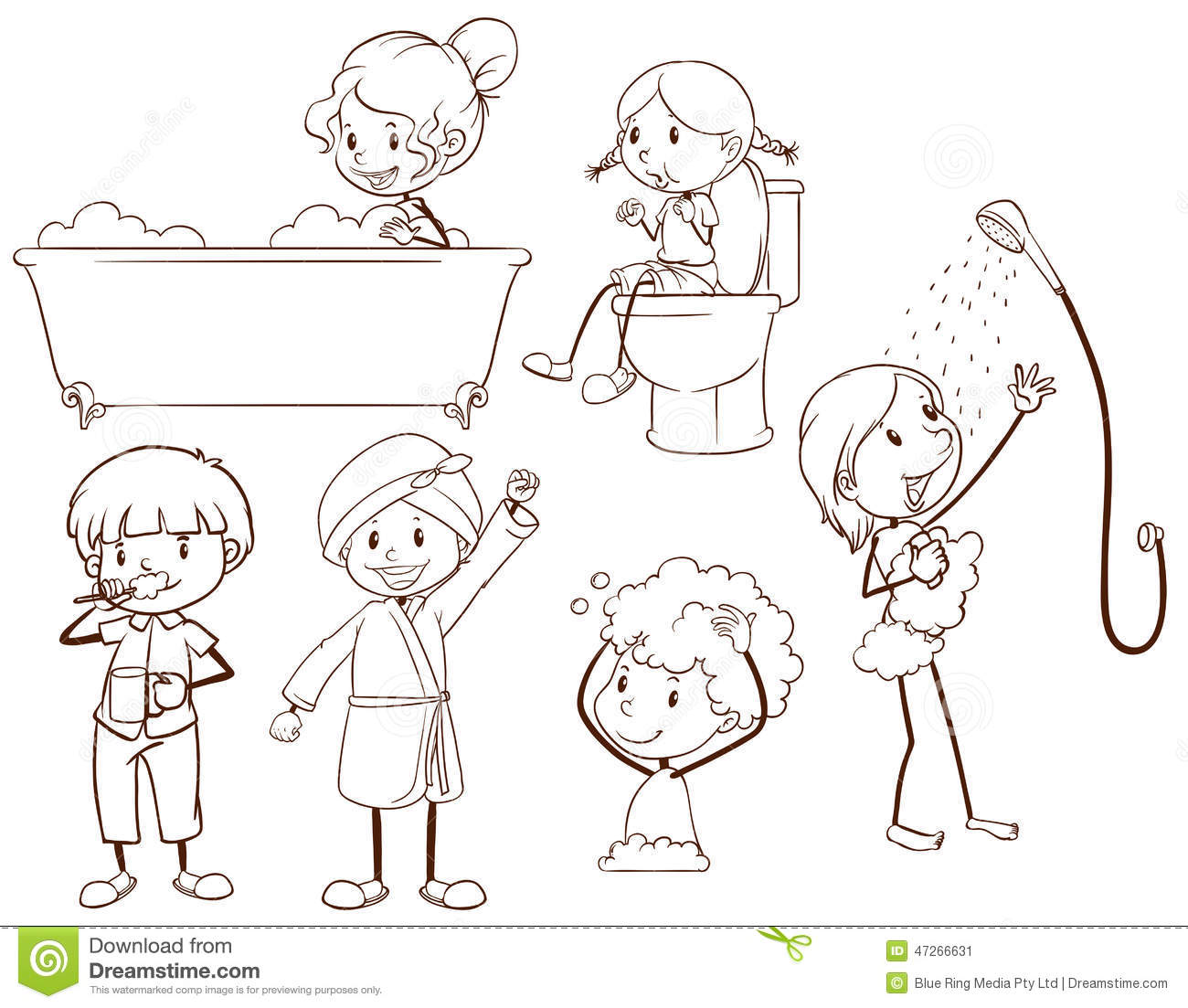 background grooming kids - Kids Sketches