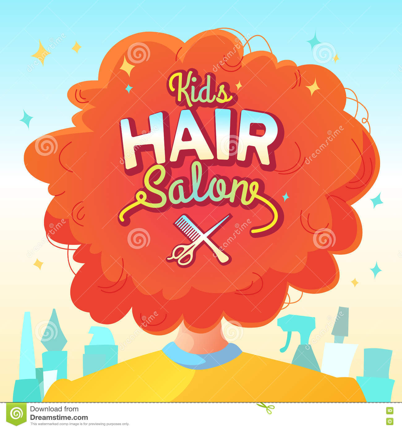 Kids hair salon stock vector image of people head for Childrens hair salon