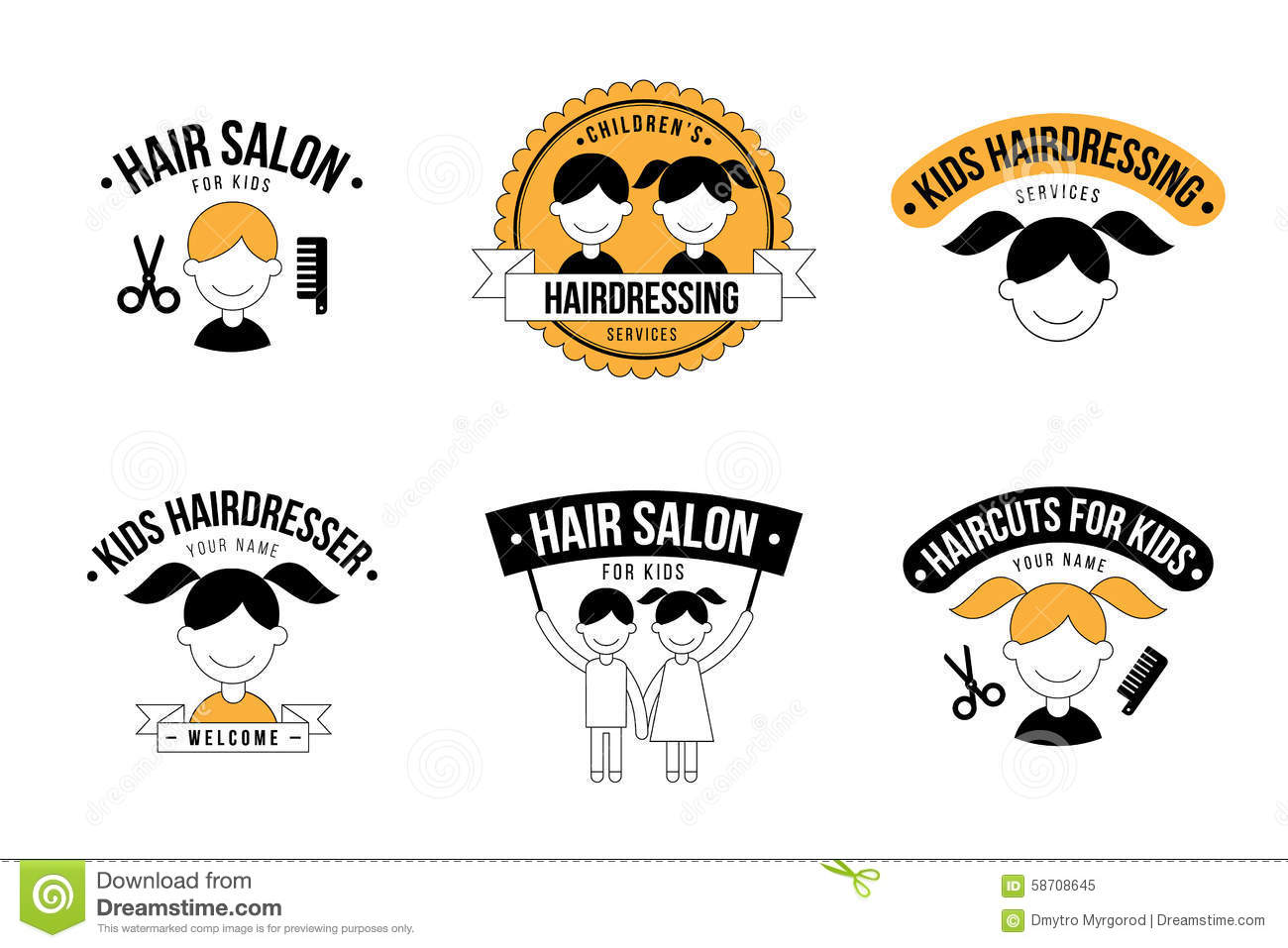 Kids Hairdresser Logo Stock Vector Image 58708645