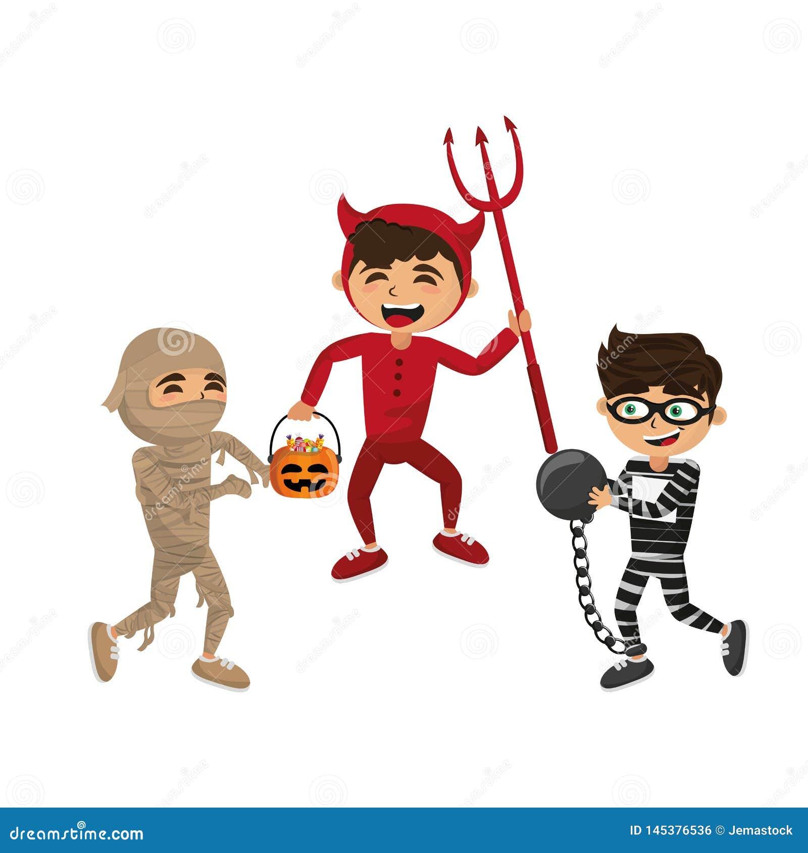 Kids And Halloween Cartoons Stock Vector - Illustration of ...