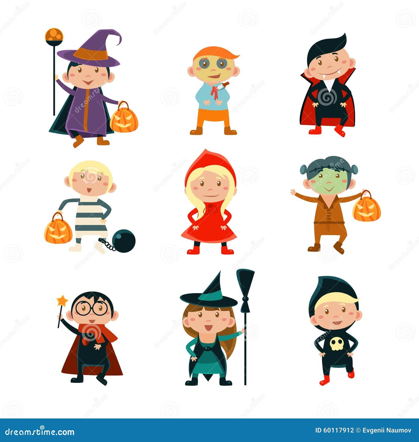 kids in halloween costumes vector illustration stock vector