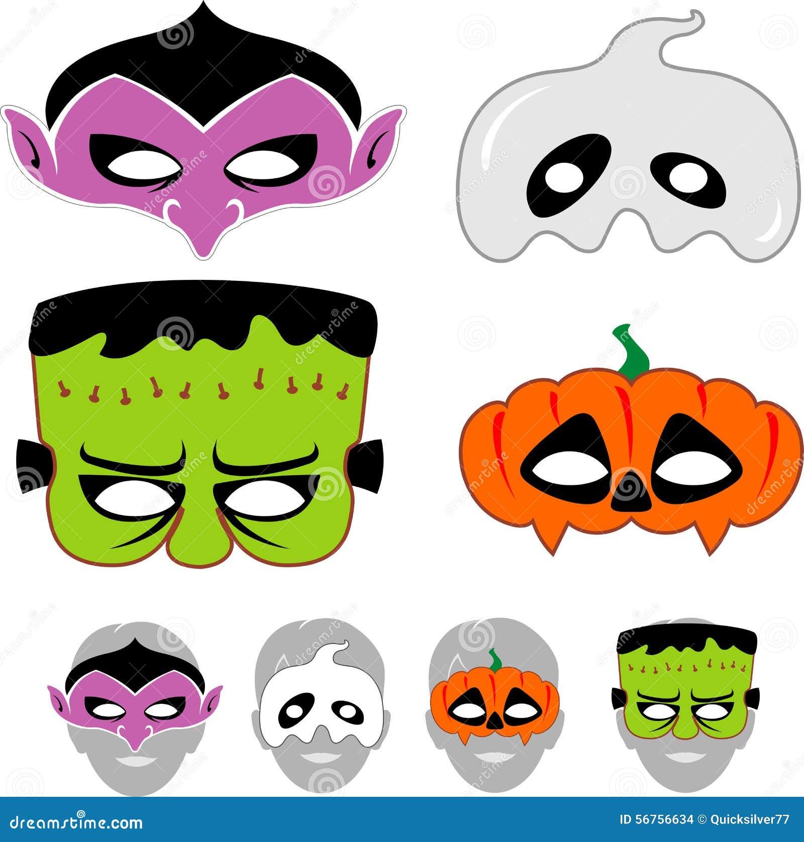 kids halloween masks set stock vector image 56756634. Black Bedroom Furniture Sets. Home Design Ideas