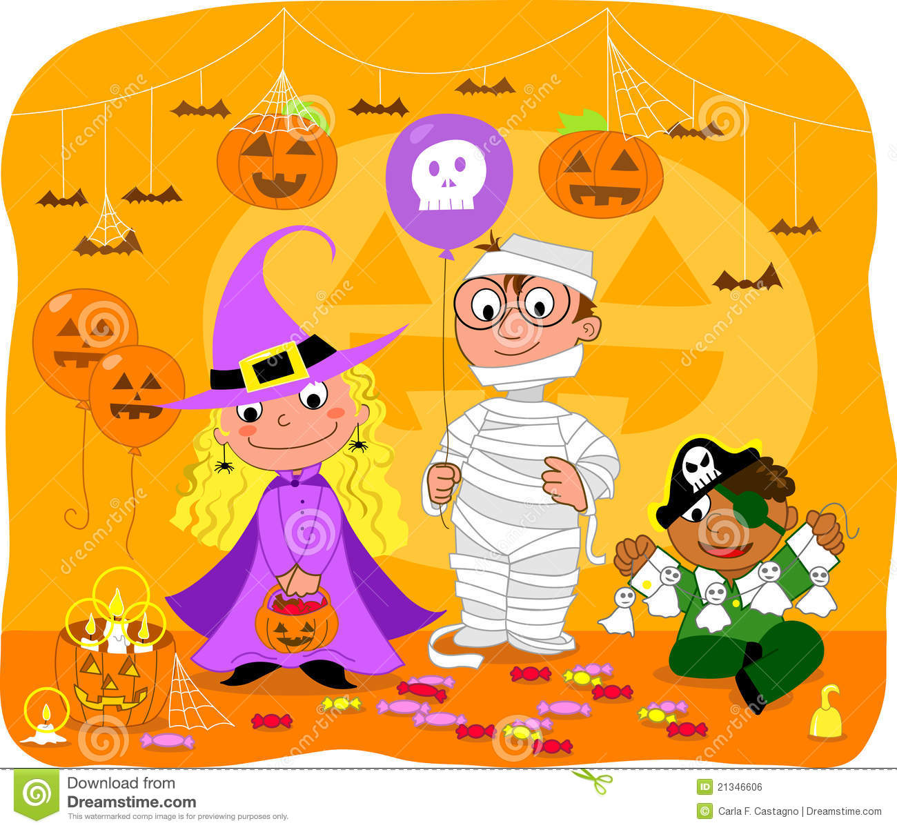 Kids At Halloween Party Vector Royalty Free Stock Image - Image ...