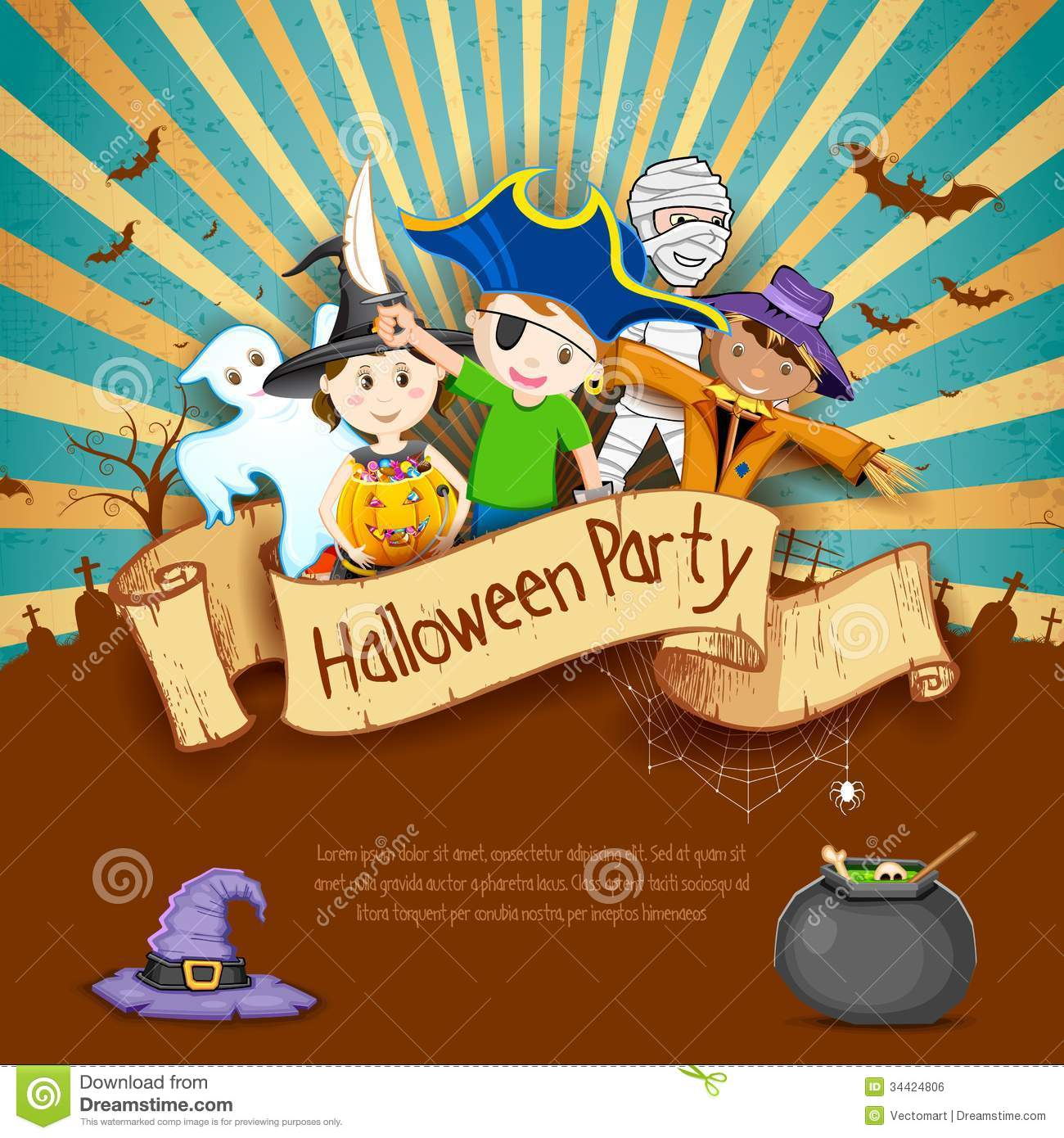 Kids In Halloween Party Royalty Free Stock Image - Image: 34424806