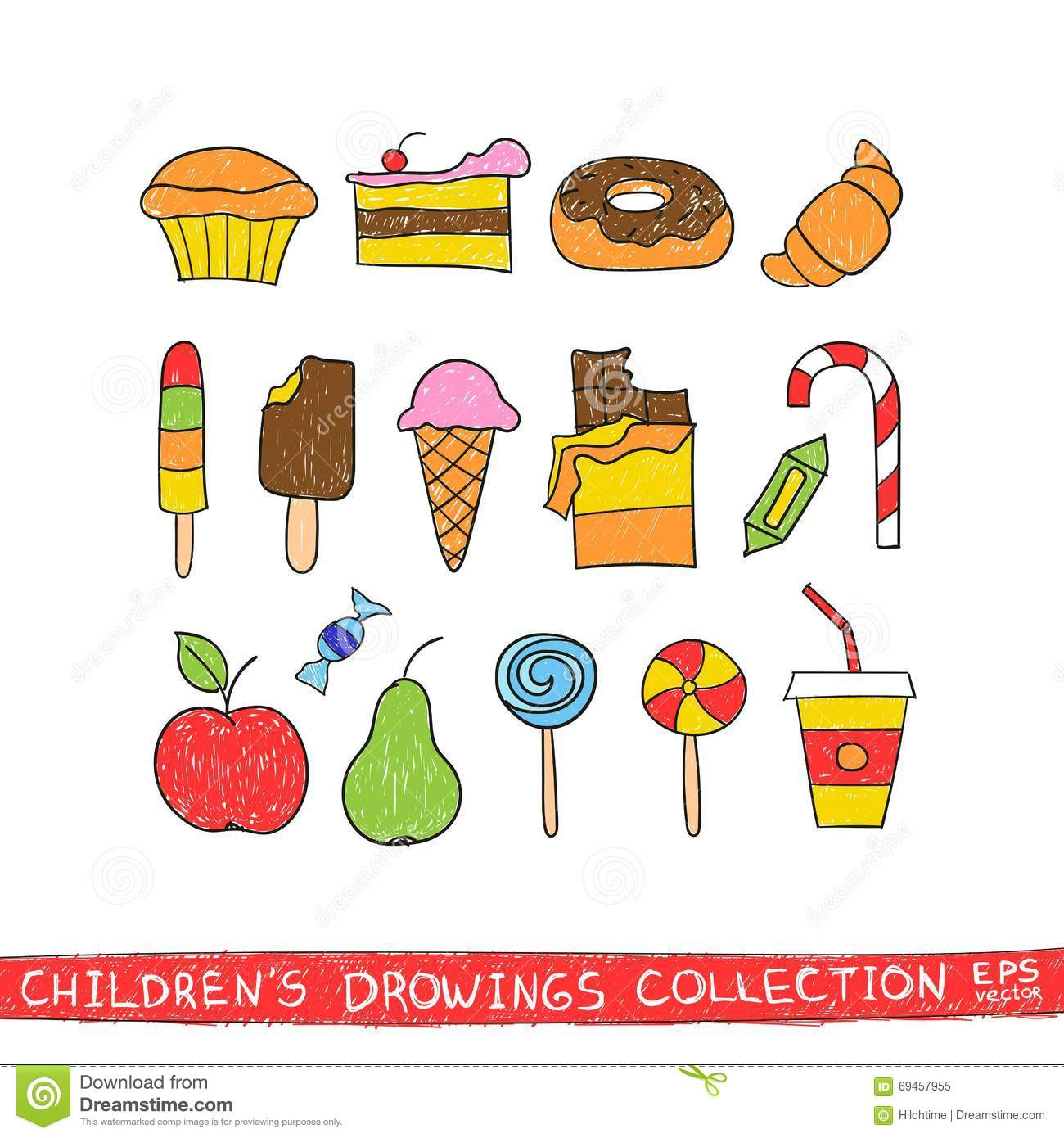 food drawing for kids. cartoon child drawing food for kids