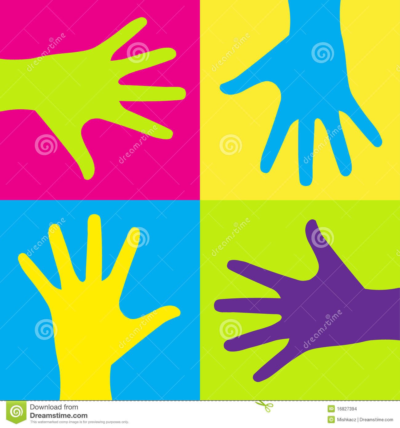 Kids hands stock vector. Illustration of child, colours - 16827394
