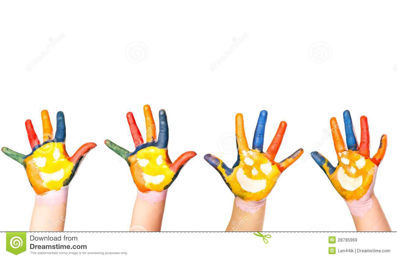 Kids Hands In Colorful Paint With Smiles Stock Image - Image of ...