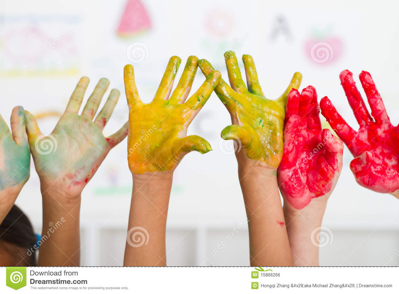 kids hands paint royalty free stock image - Kids Paint Free