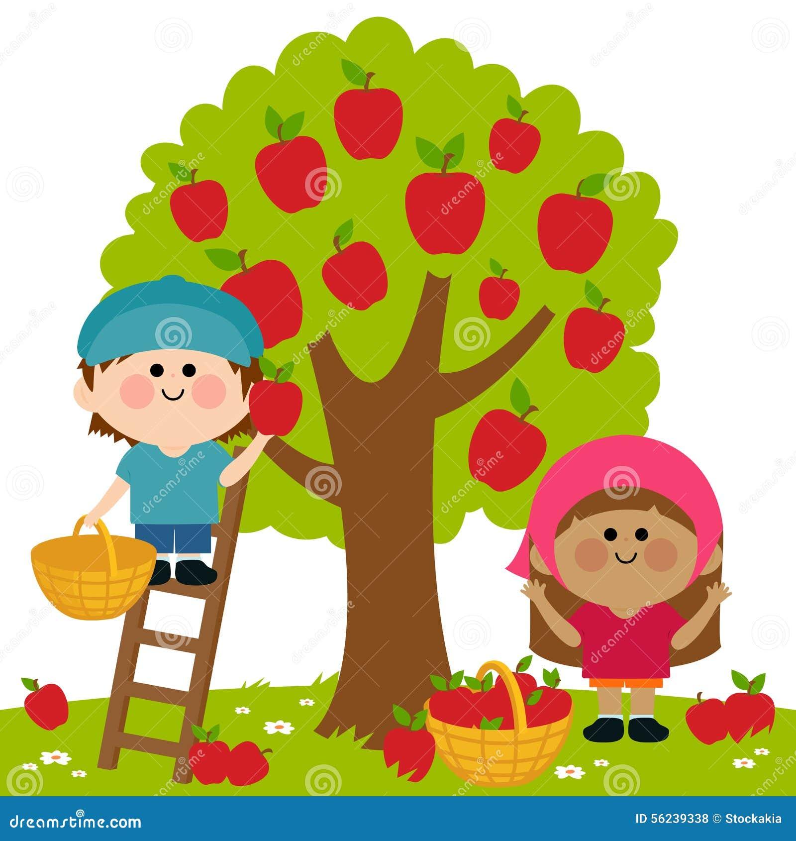 Kids harvesting apples stock vector. Illustration of ...