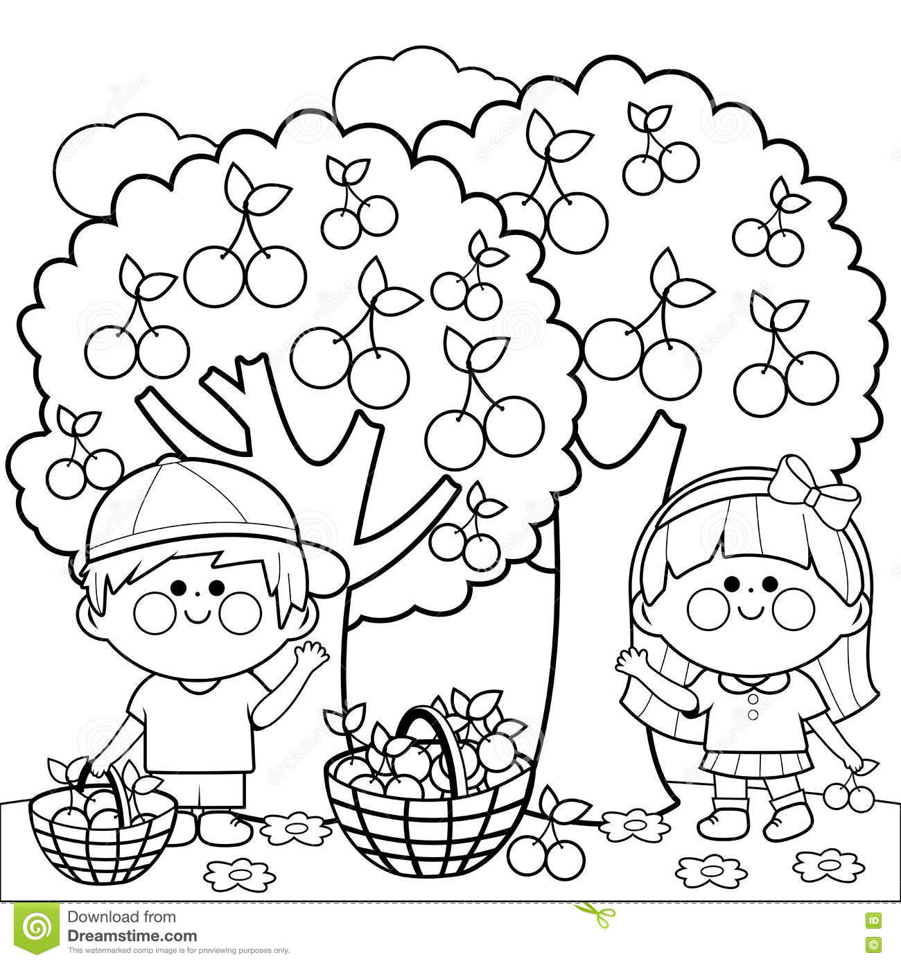 children picking apples coloring pages - photo#5
