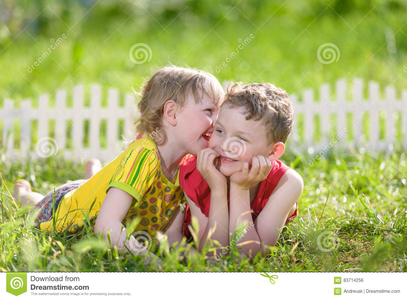 Kids Have Fun Outdoors Stock Photo
