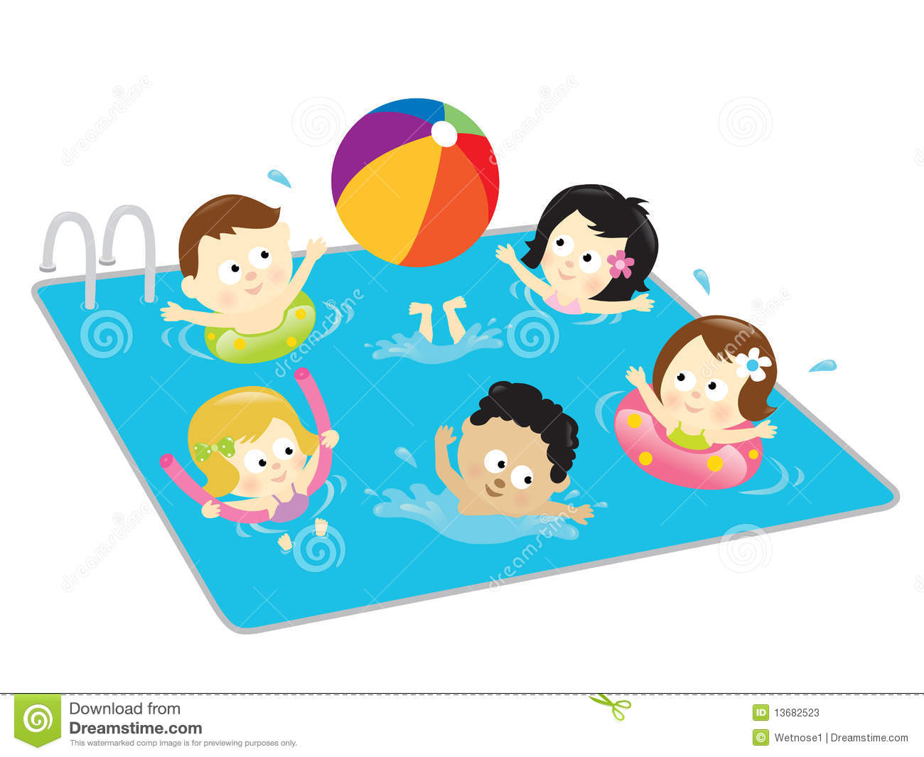 Kids Having Fun In The Pool Stock Photos - Image: 13682523