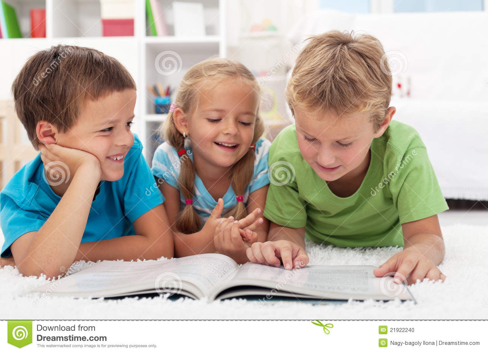 Kids Having Fun Reading Stock Photo - Image: 21922240