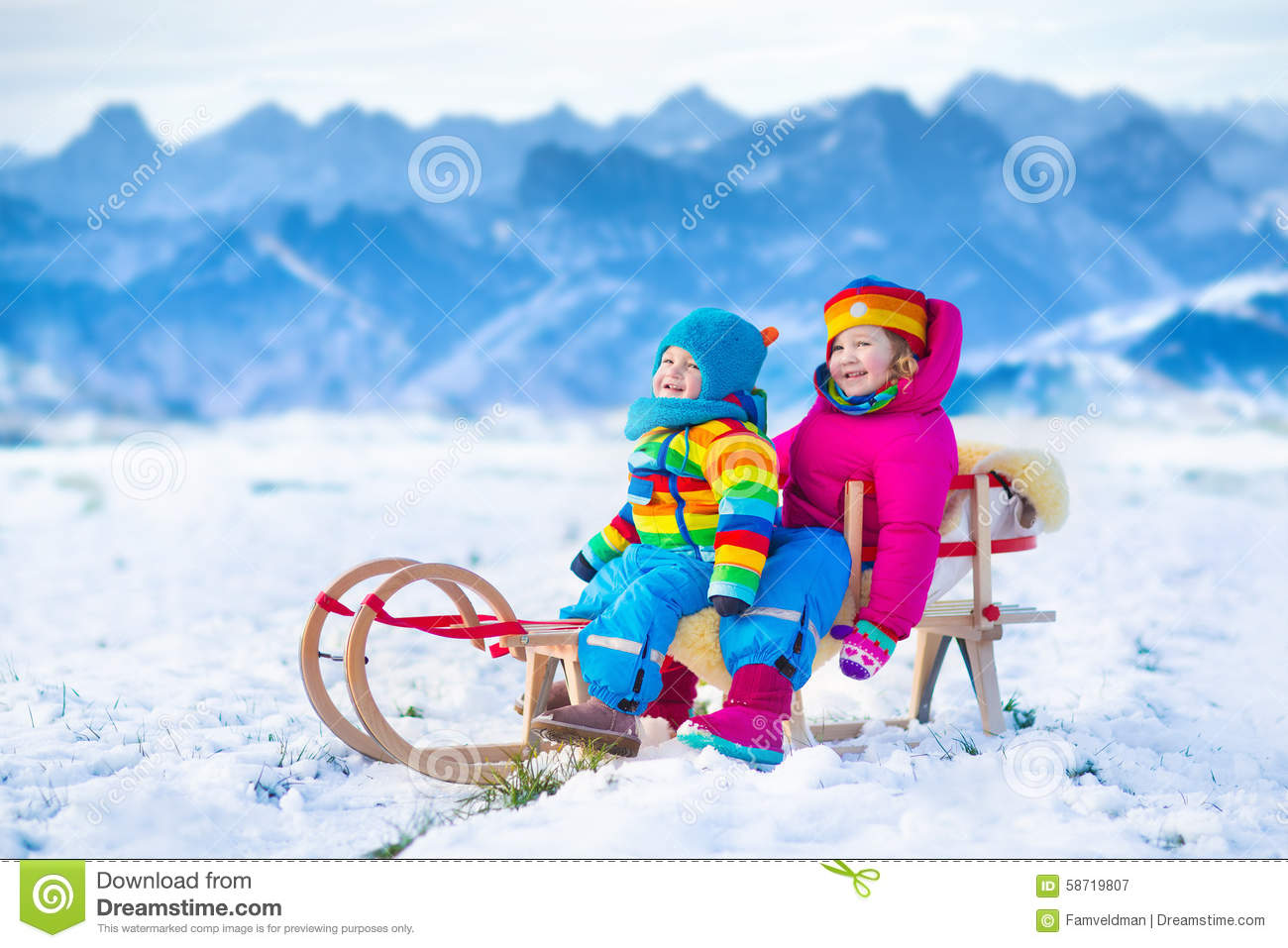 Kids Having Fun On A Sleigh Ride In Snow Stock Image Image Of