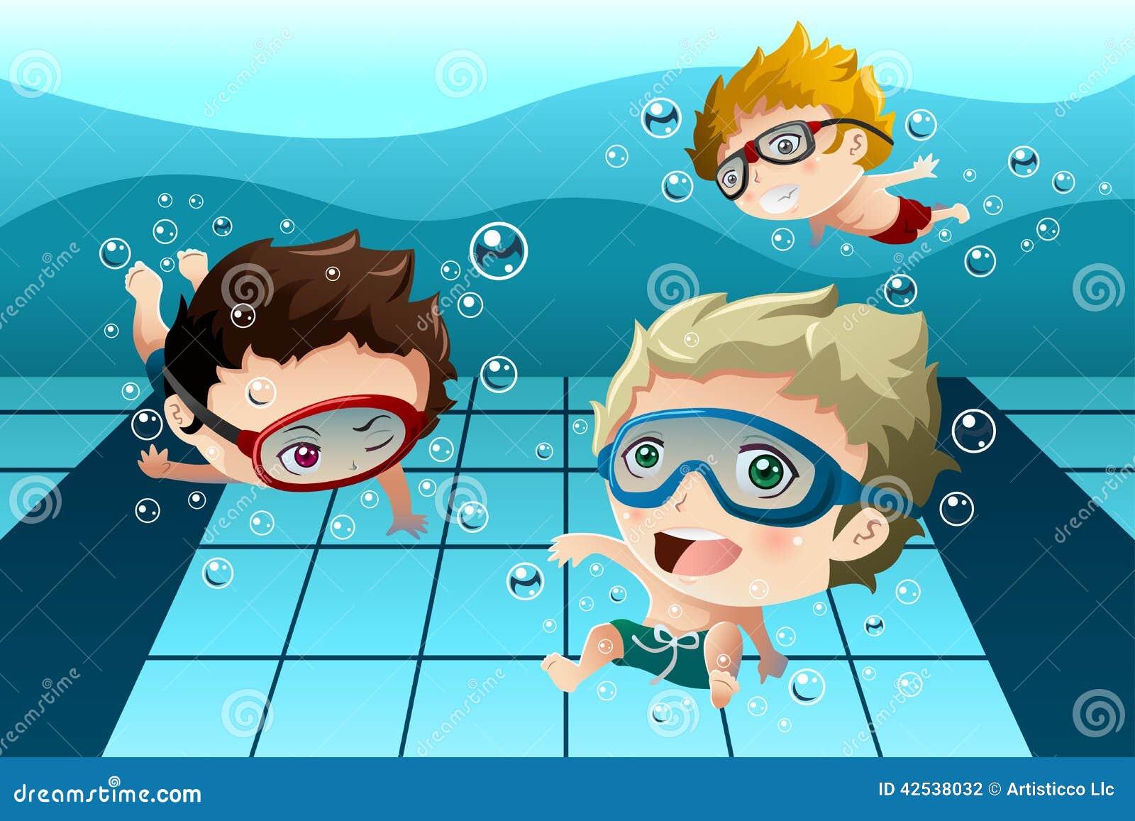 Kids Having Fun In The Swimming Pool Stock Vector - Image: 42538032