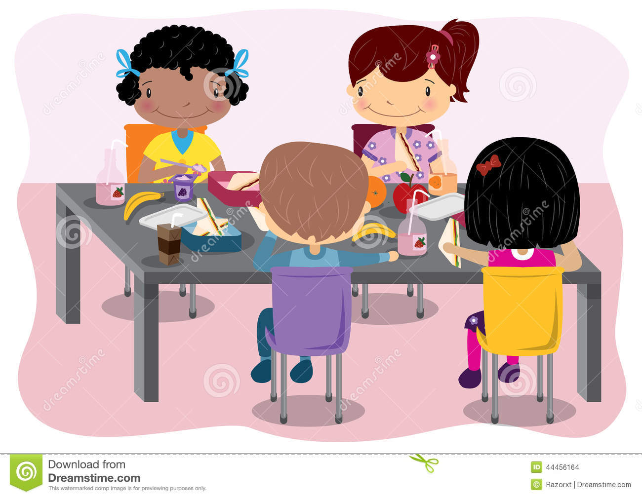 Download Kids Having Lunch Stock Vector Illustration Of Eating