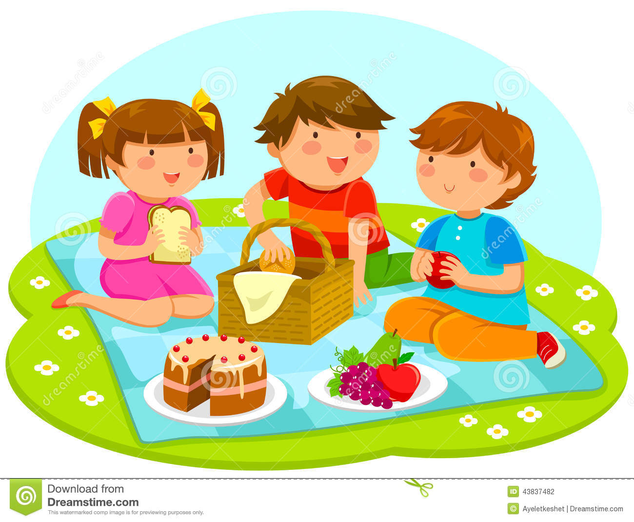 Kids Having Picnic Stock Vector Illustration Of Outdoor