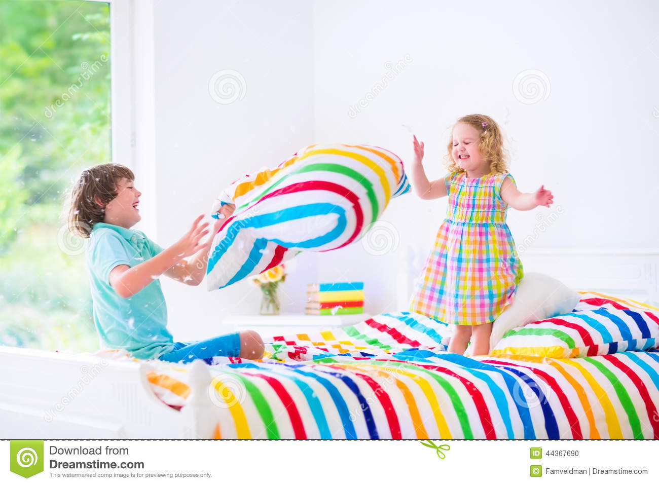 Kids Having Pillow Fight Stock Photo - Image: 44367690