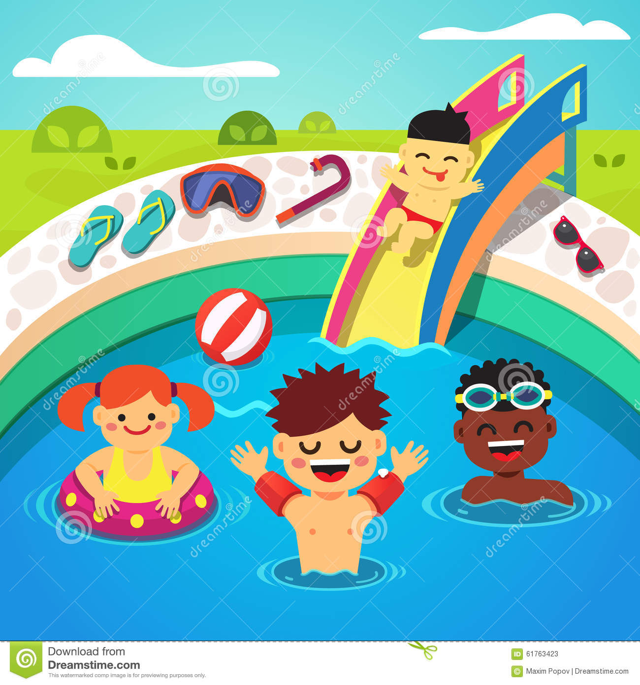 Kids Having A Pool Party Happy Swimming Stock Vector