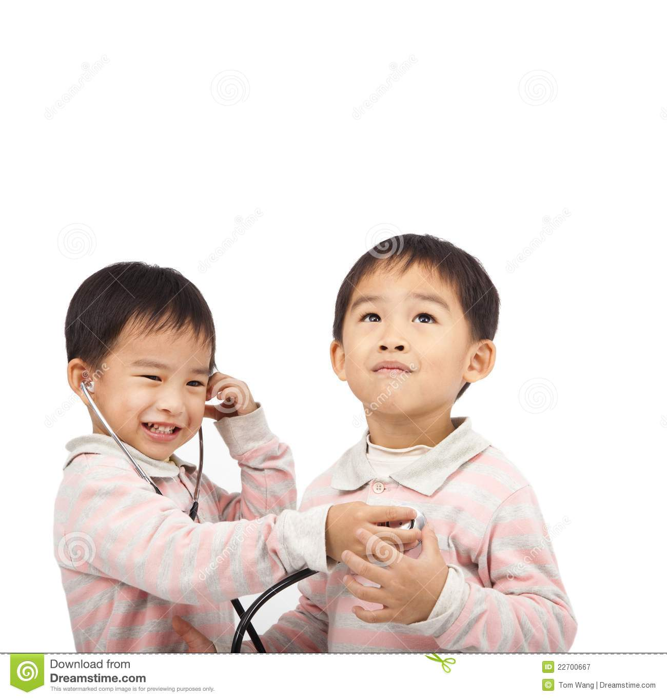 Kids with health examination by stethoscope