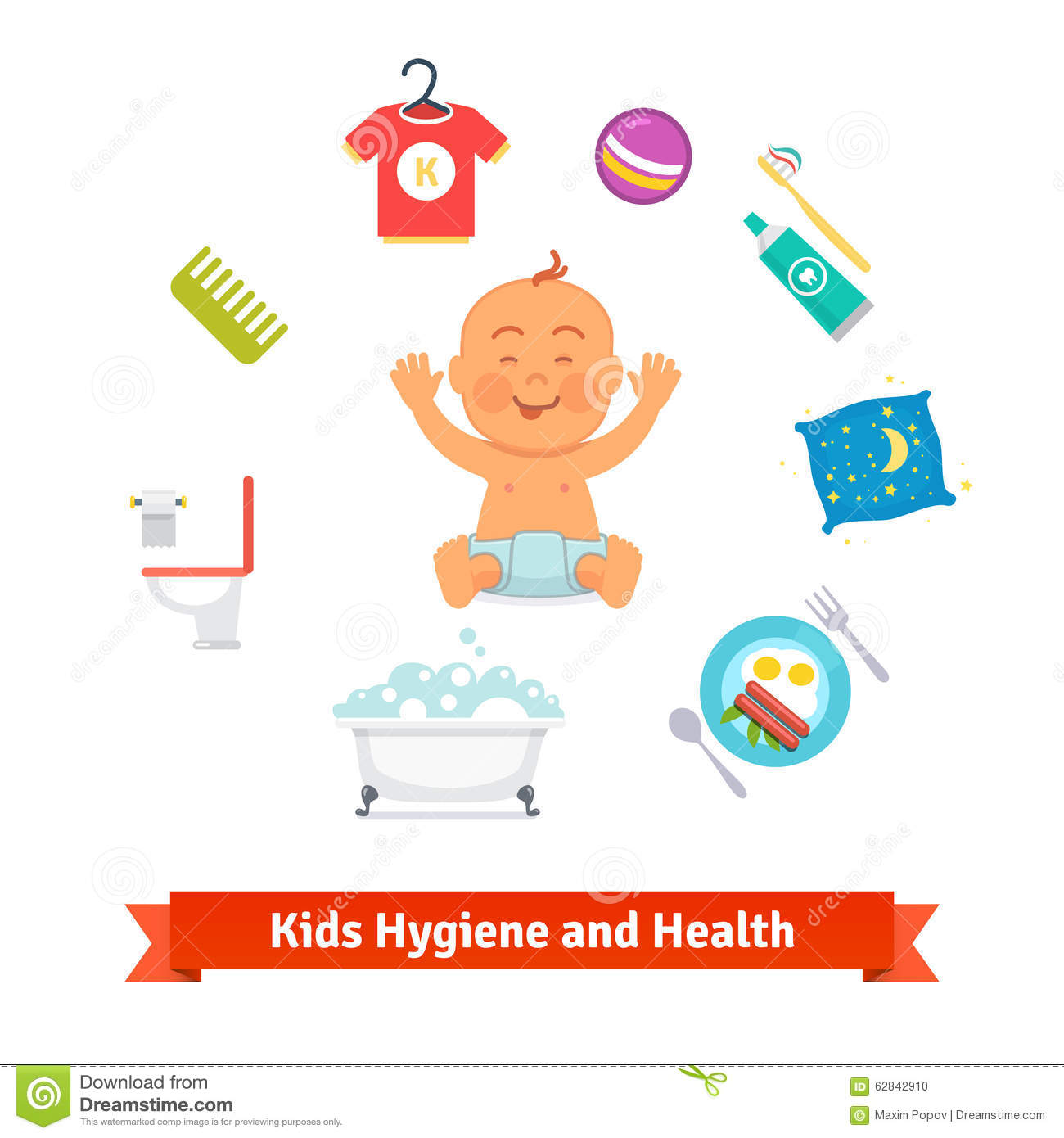 Kids Health And Hygiene Icons. Baby Boy Stock Vector ...