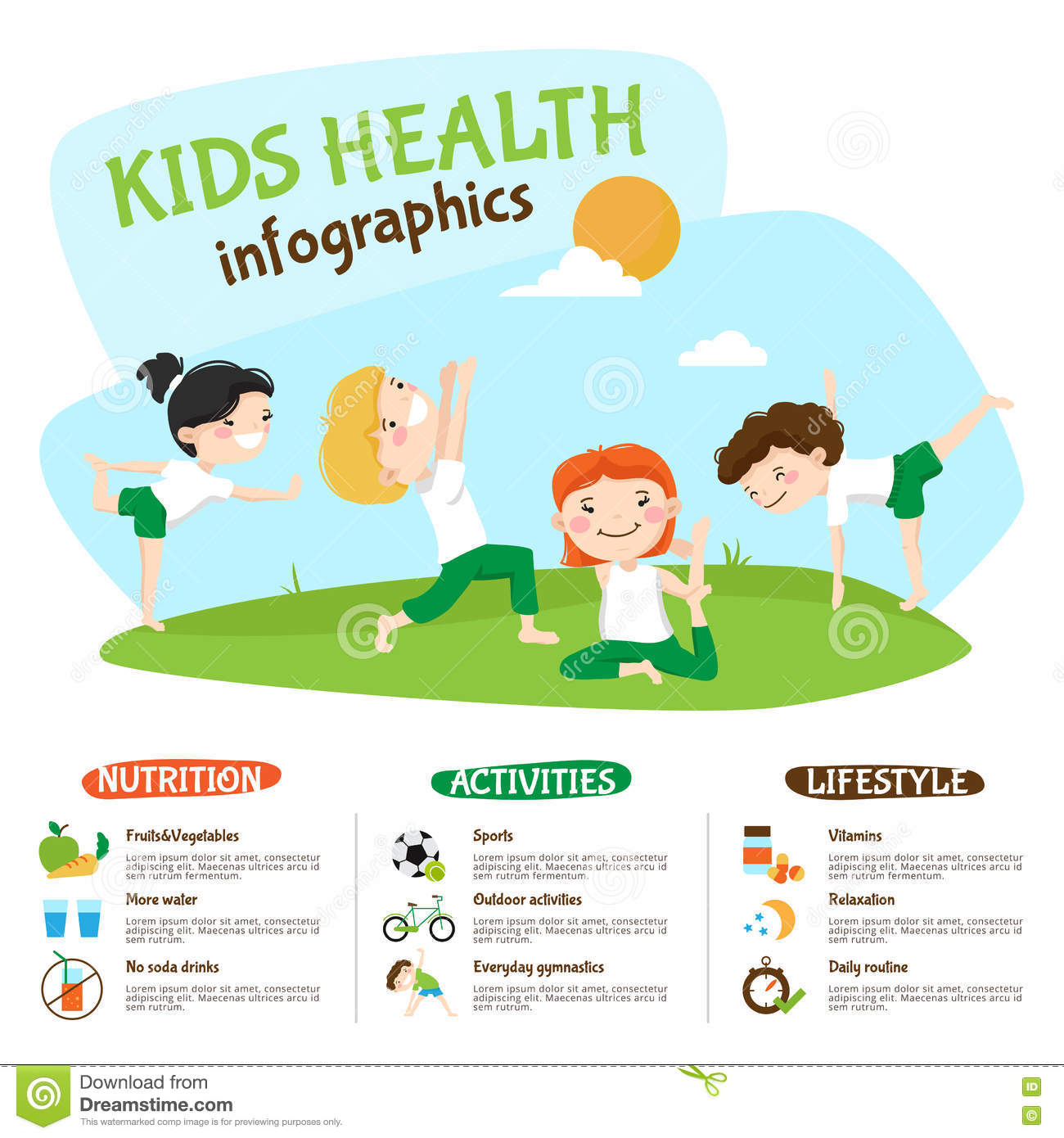 Kids Healthy Lifestyle Yoga Inforgrahic Poster Stock ...