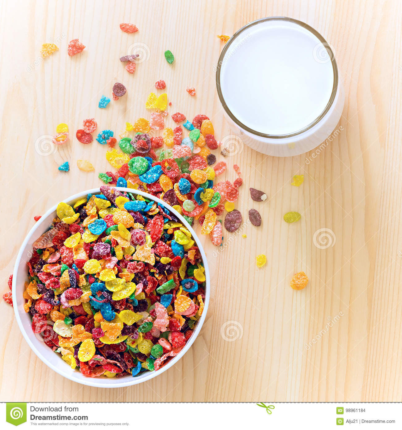 Kids Healthy Quick Breakfast. Colorful Rice Cereal With