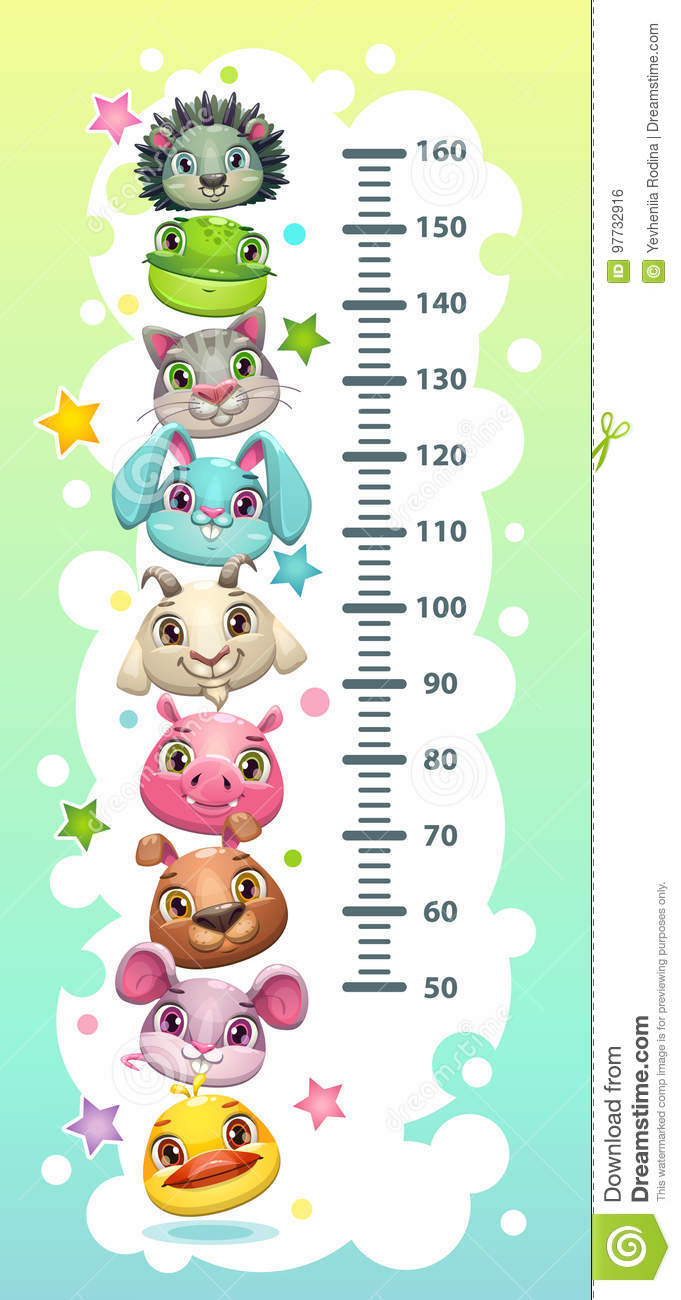Kids height chart template with funny cartoon round animals.