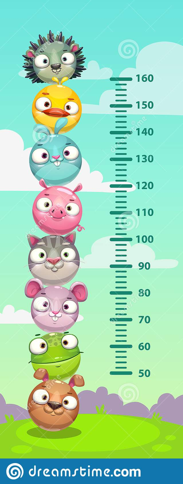 Kids height chart. Wall metter with funny cartoon round animals.