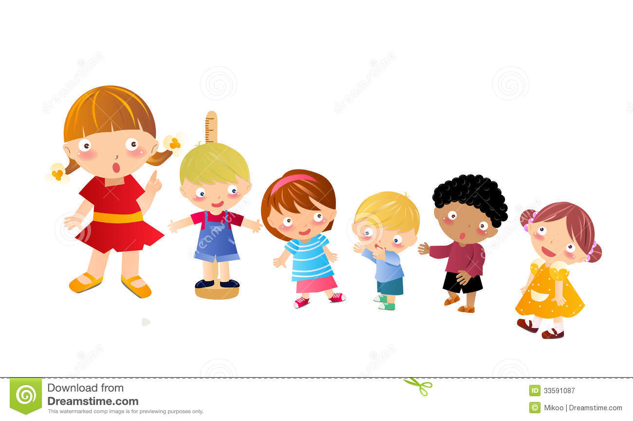 Kids with height scale stock vector. Illustration of ...