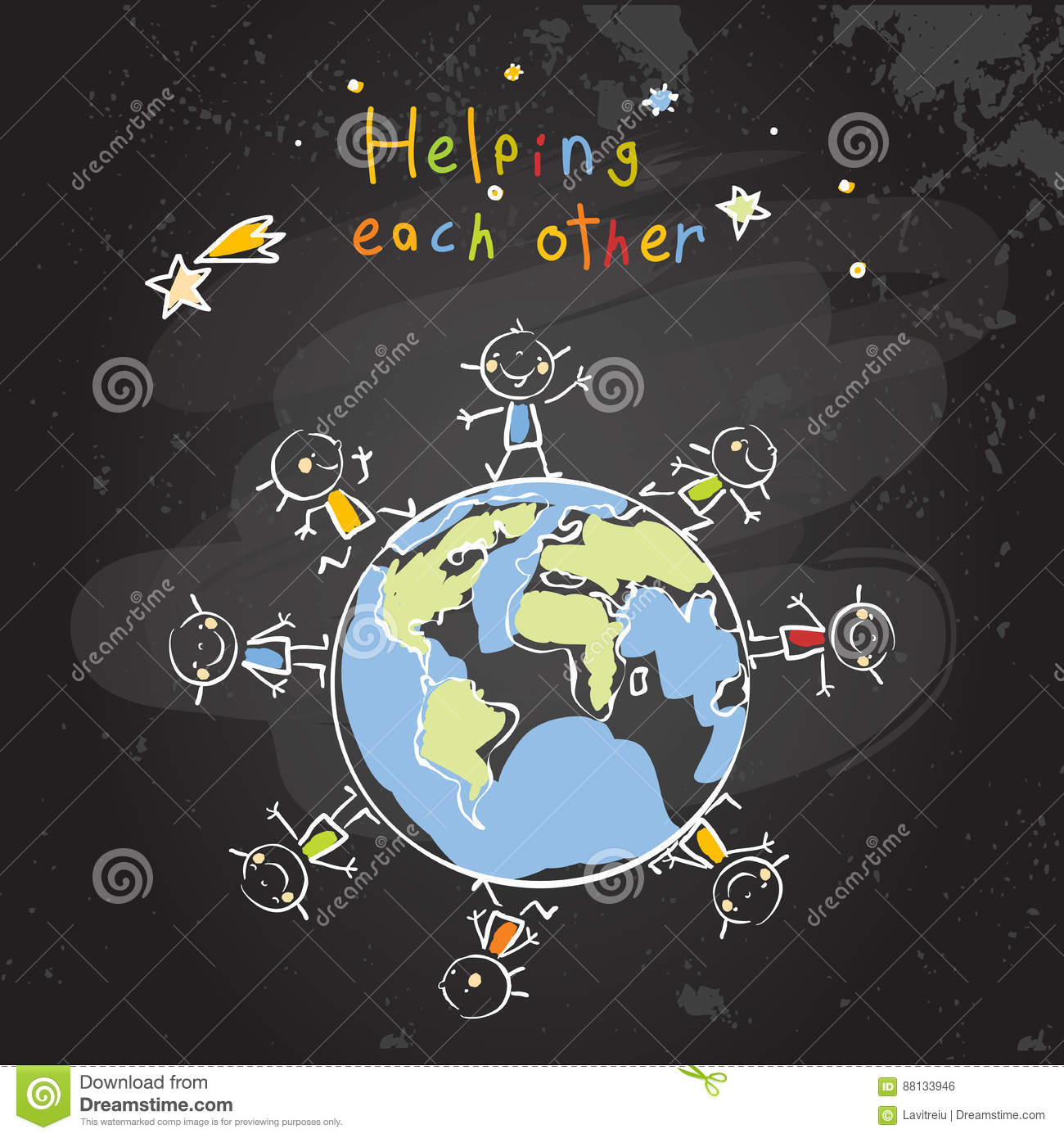 Helping Each Other: Helping Each Other Vector Illustration
