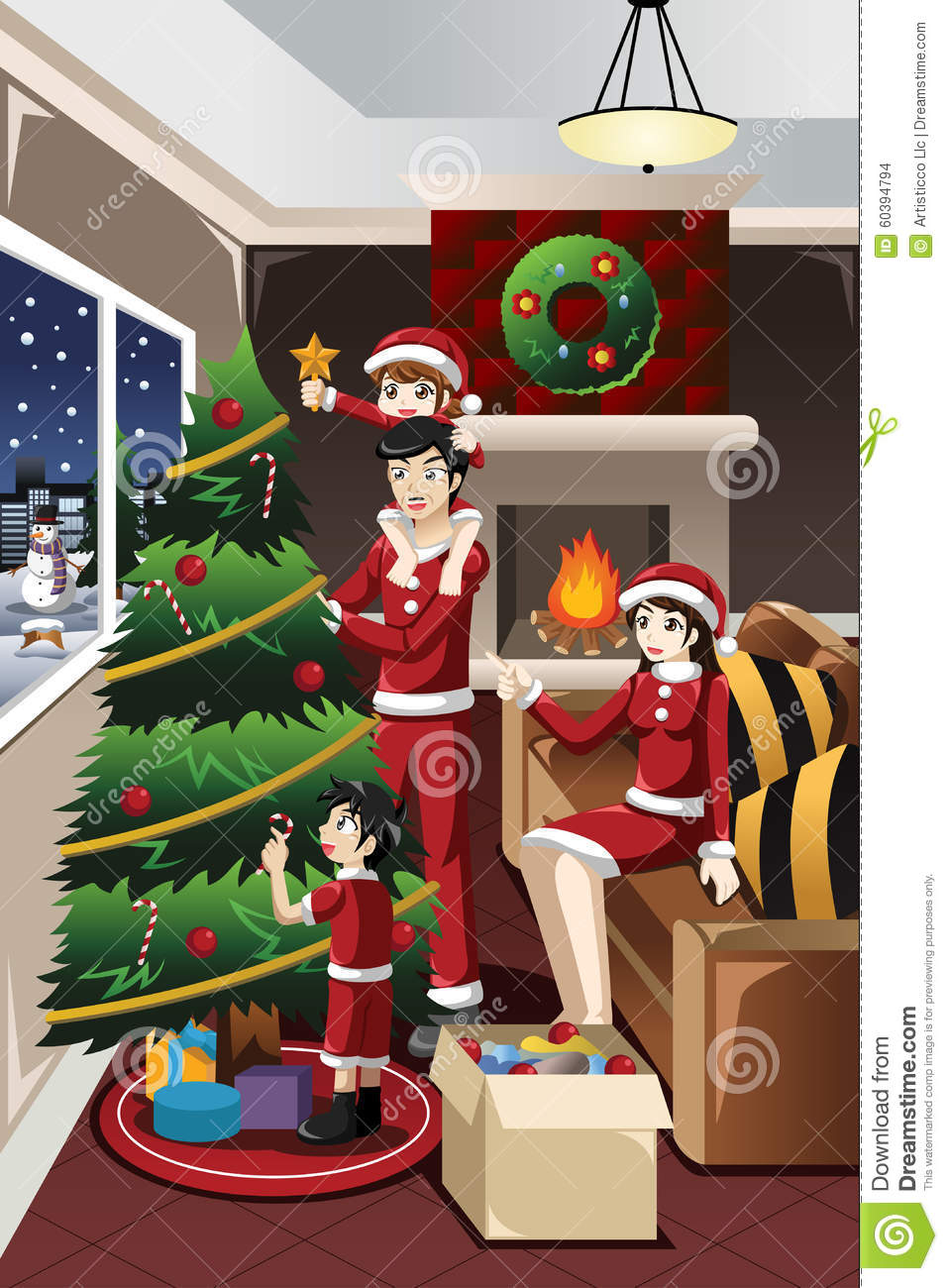 kids helping parents decorating christmas tree stock vector
