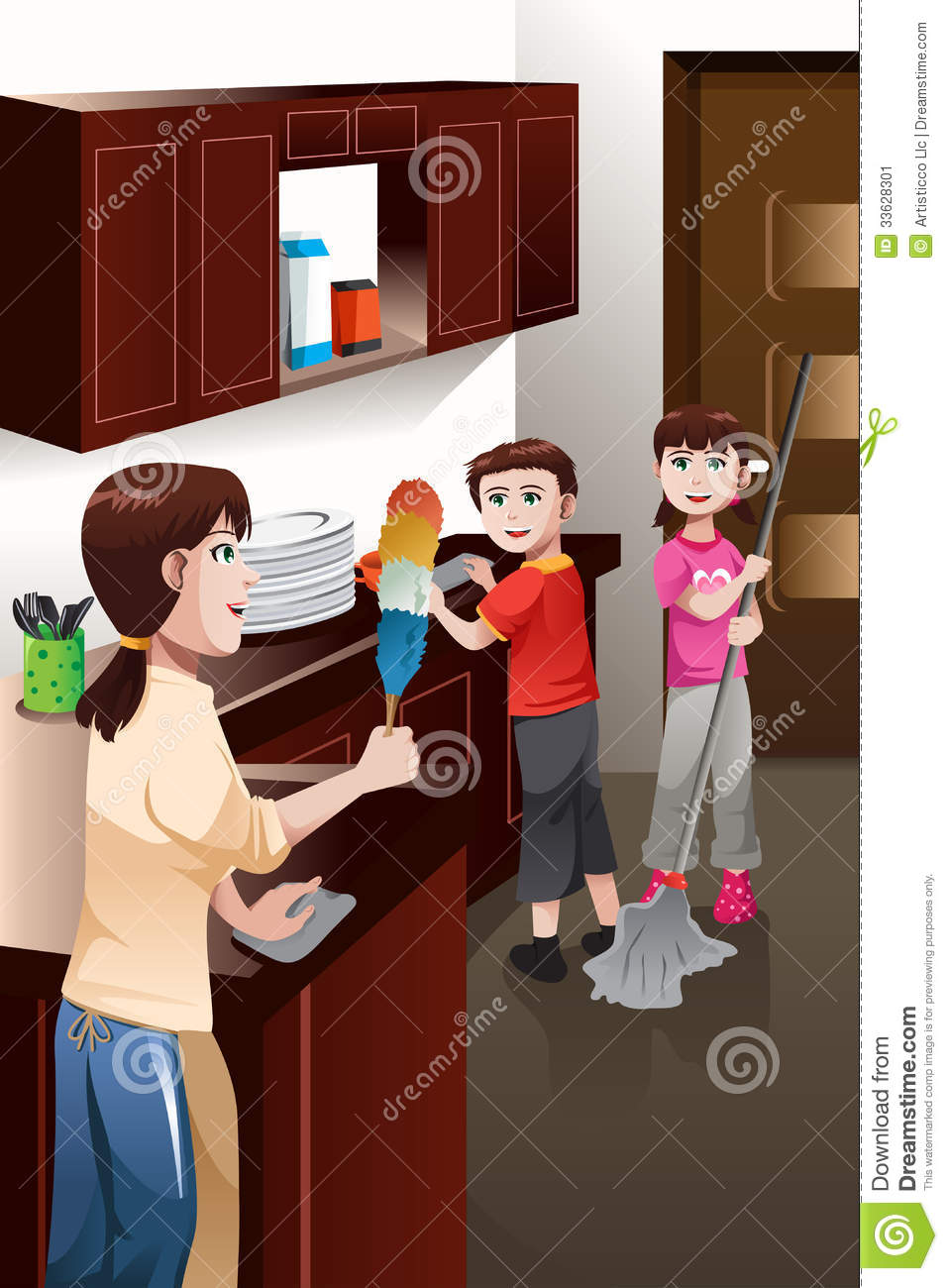 kids helping their parent cleaning house stock vector - illustration