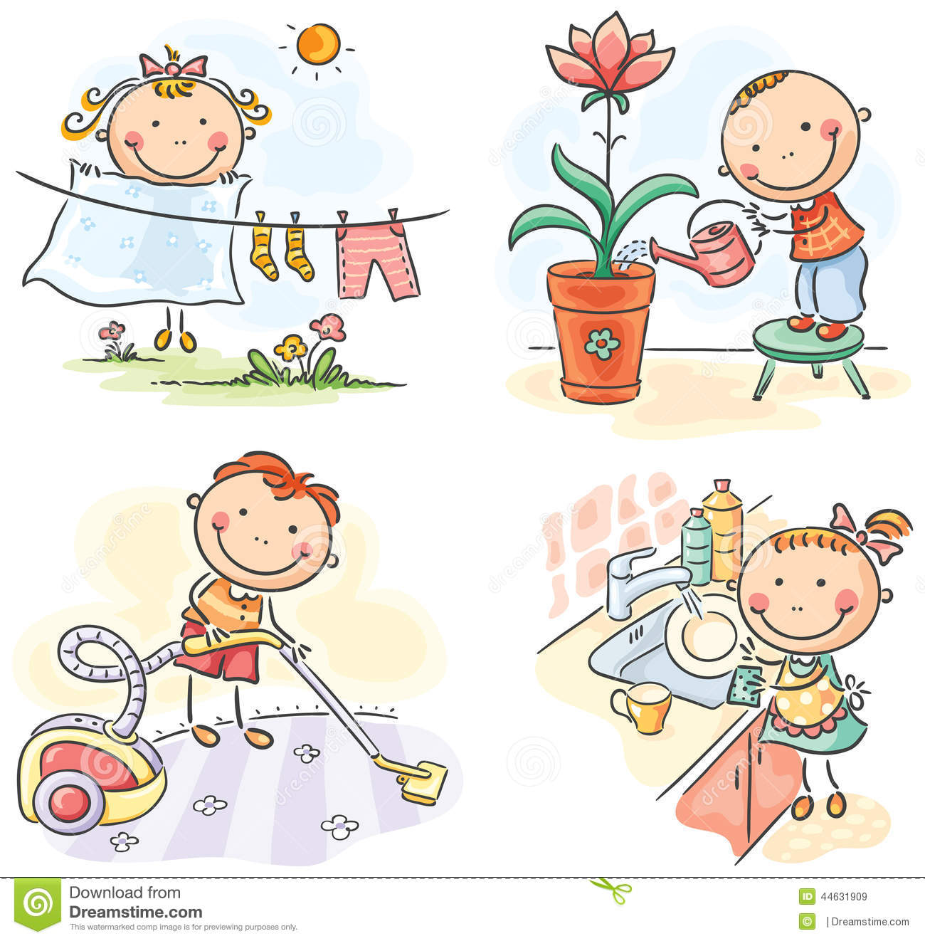 Http Www Dreamstime Com Stock Illustration Kids Helping Their Parents Housework Image44631909