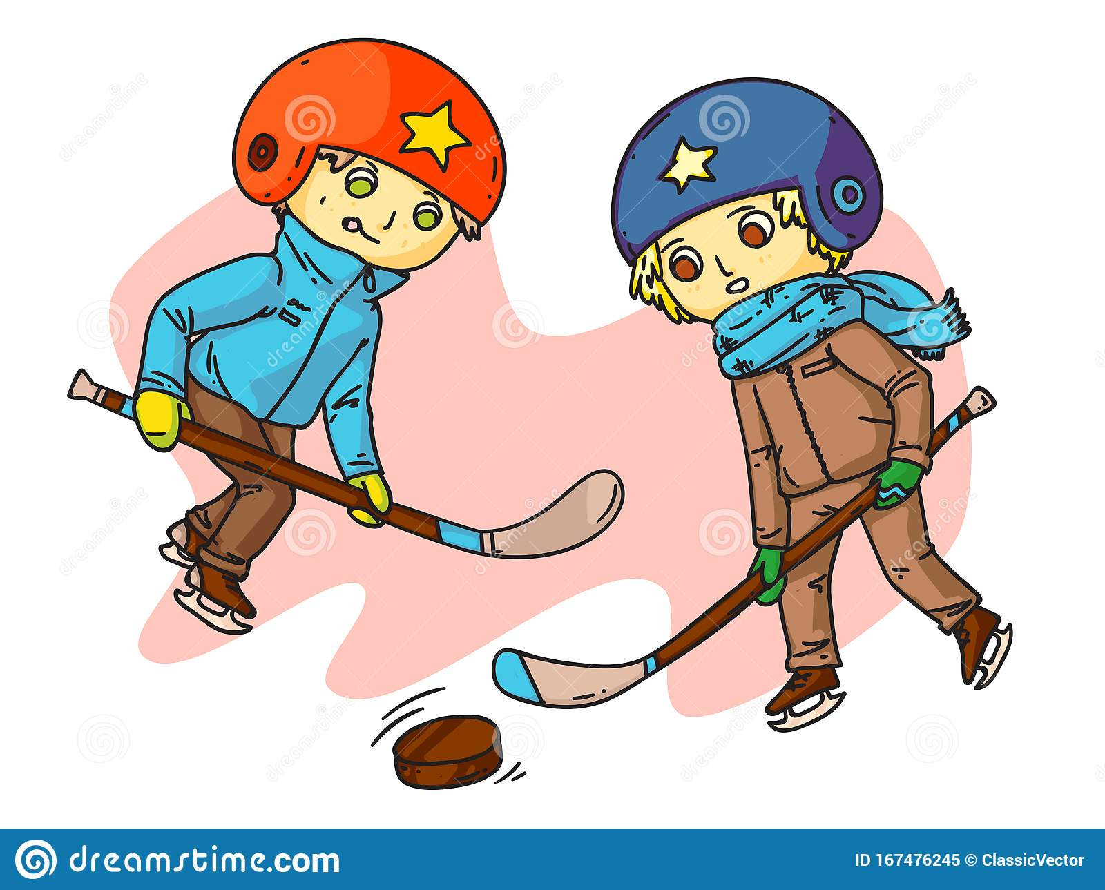 Kids Hockey Players Flat Vector Illustration Stock Vector Illustration Of Competitive Design 167476245