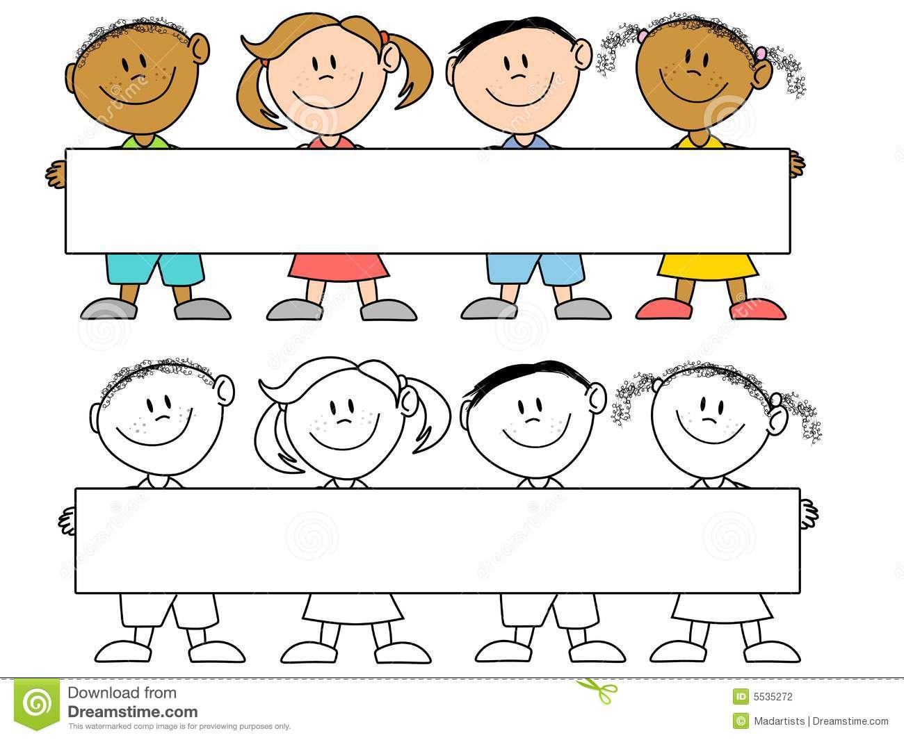 Kids Holding A Banner Stock Illustration Illustration Of