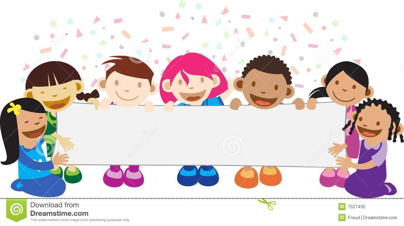 Kids holding a banner royalty free stock photo image 7527435