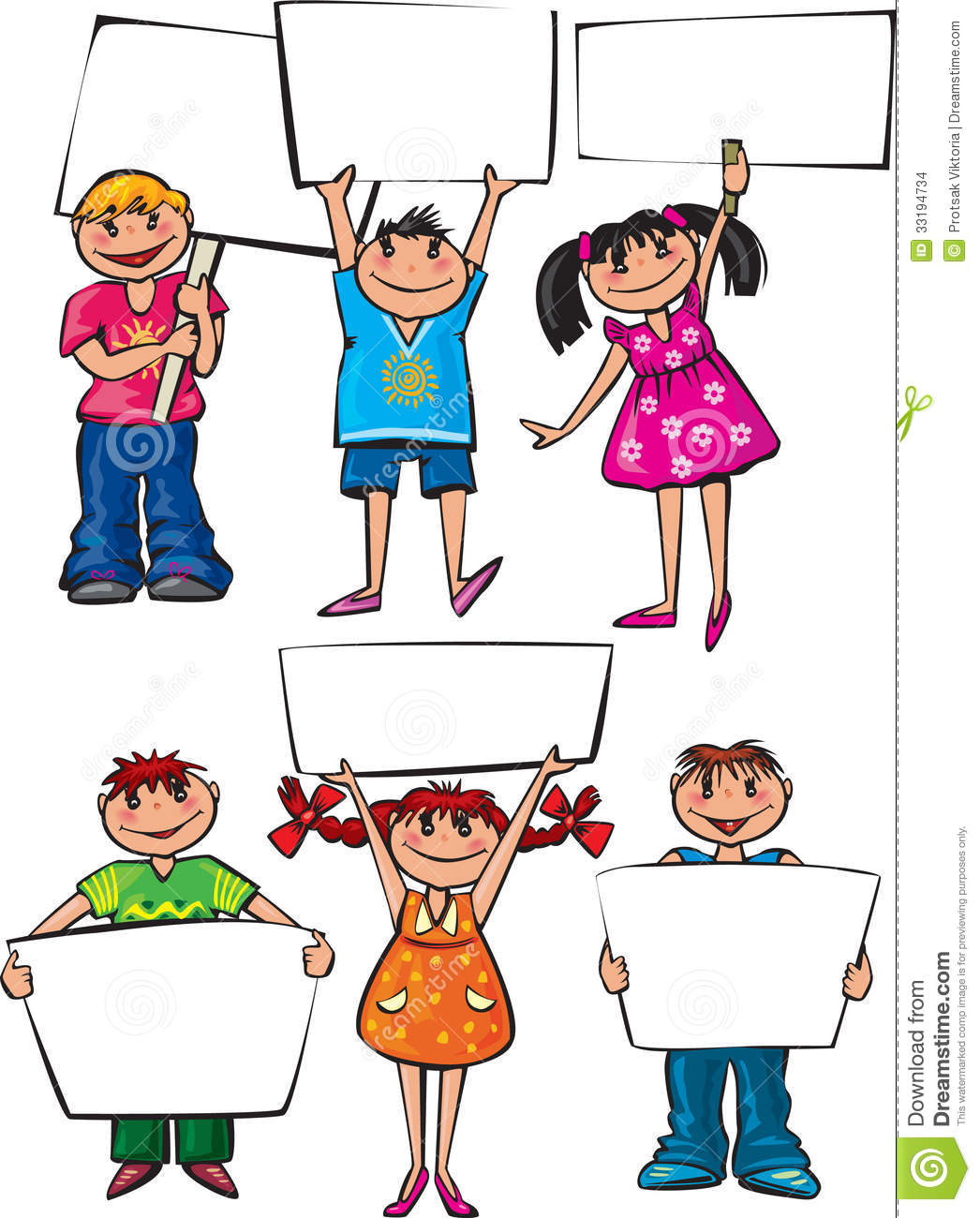 Kids Holding Blank Boards Stock Images Image 33194734